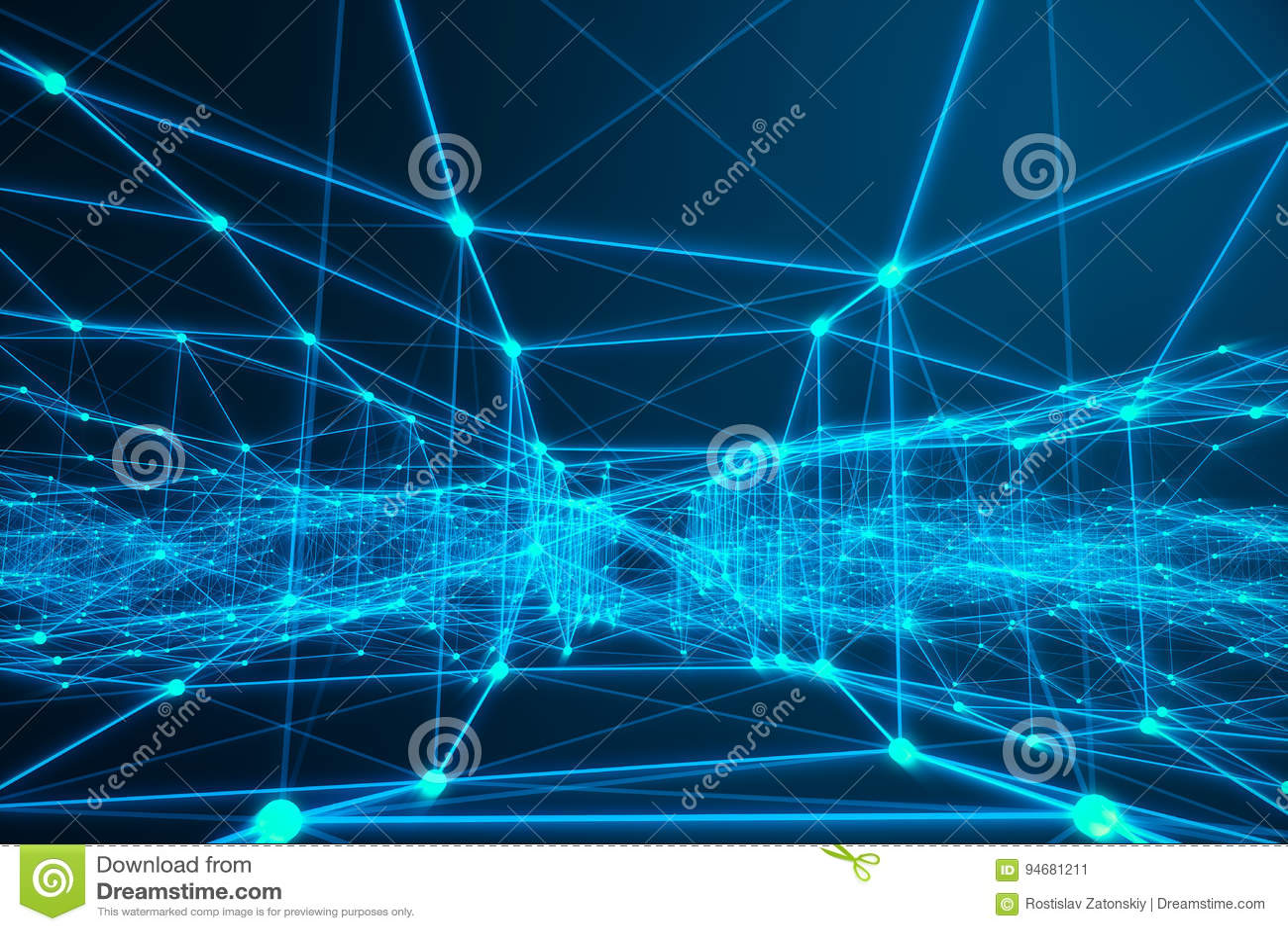 Technologische verbindings futuristische vorm, blauw puntnetwerk, abstracte achtergrond, blauwe achtergrond, Concept Netwerk