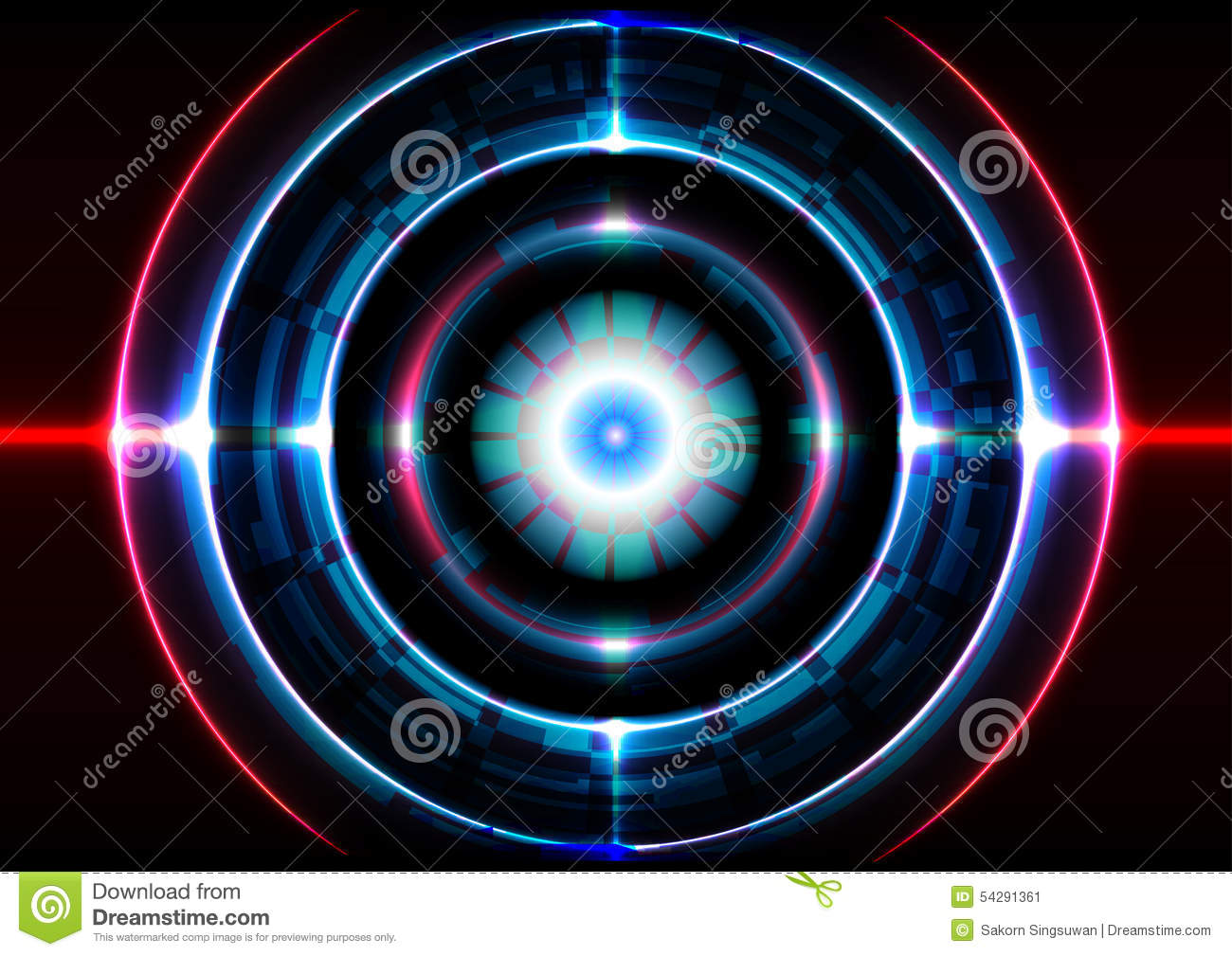 Abstract Technology Background With Light Effect: Technology Abstract Background Circle Light Effect Stock