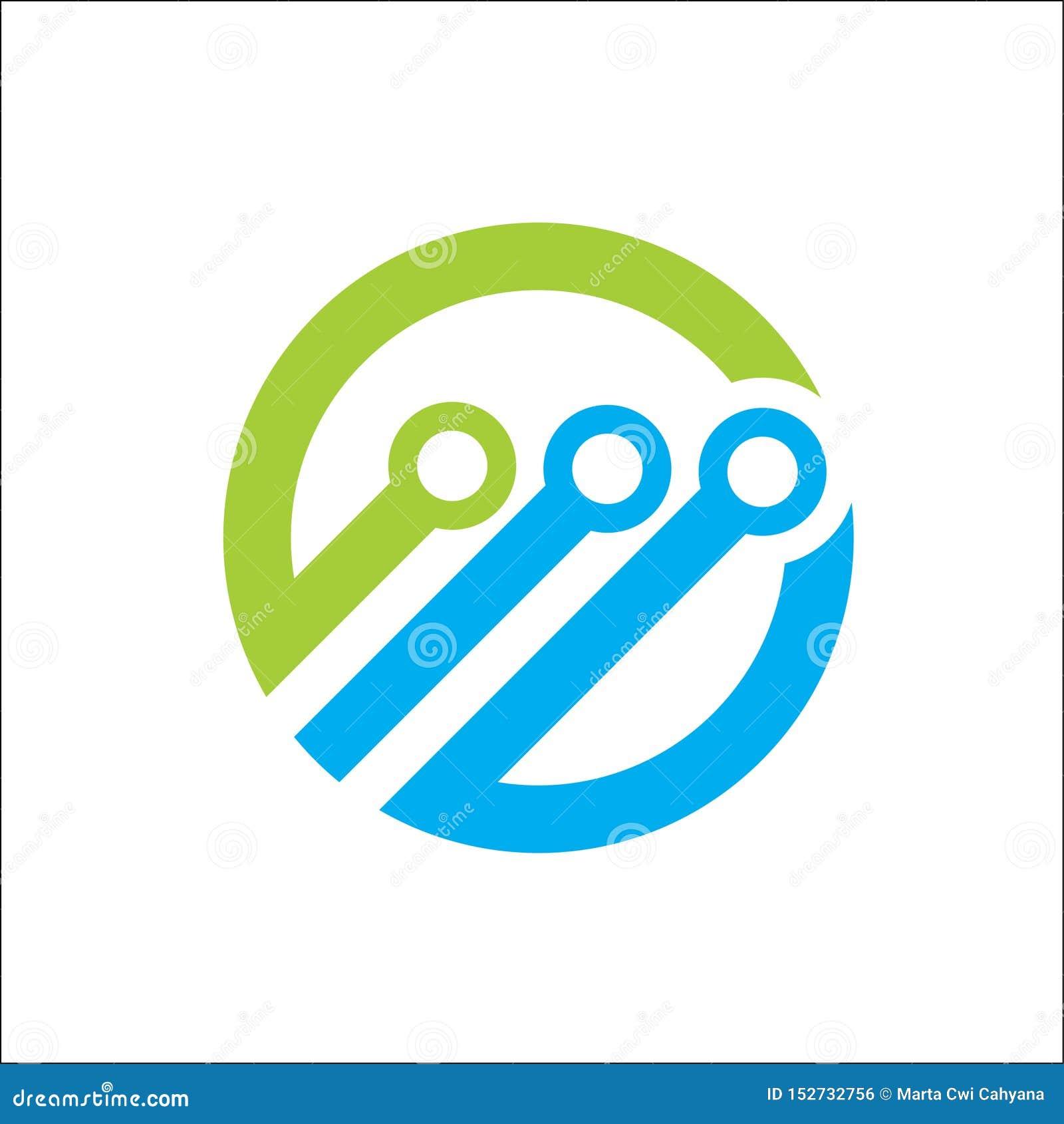 Technology abstract logo circle vector