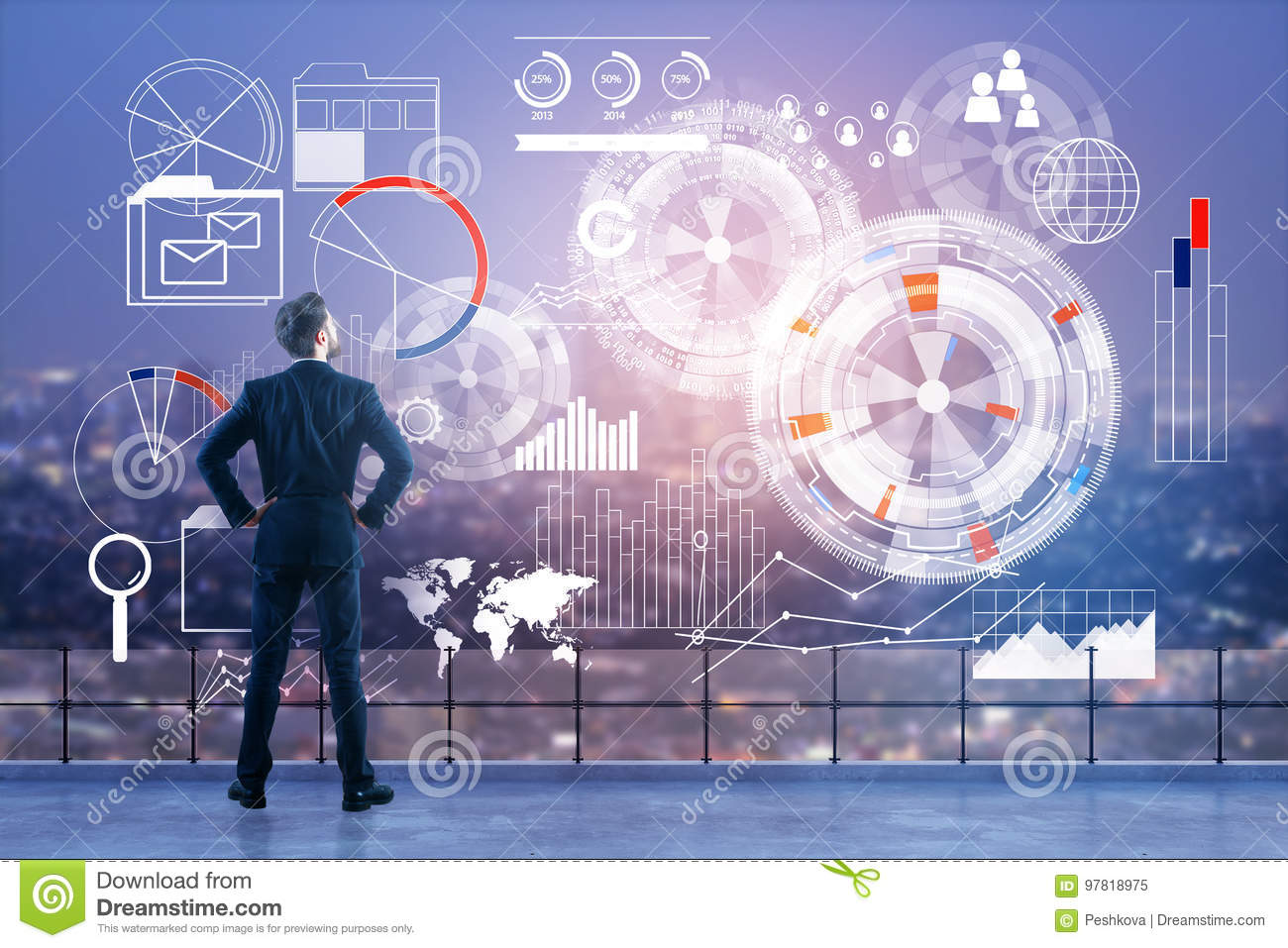 Technology, analytics and finance concept
