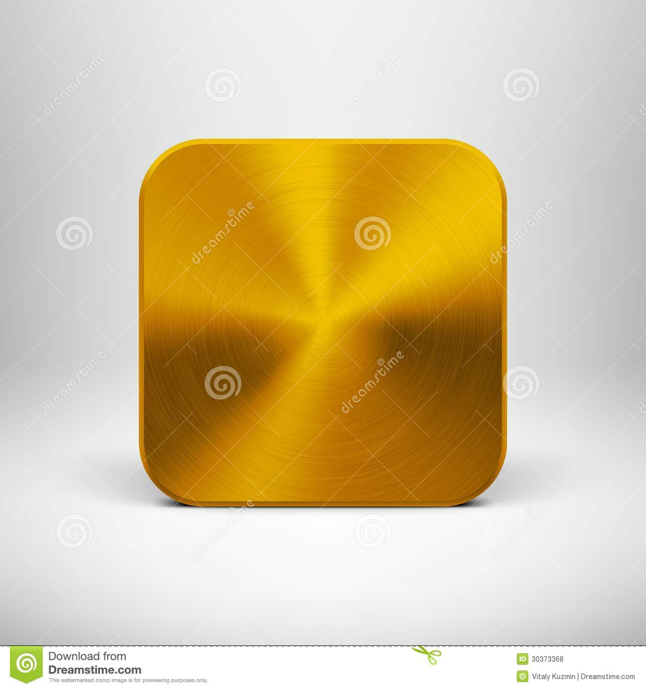 Technology App Icon With Gold Metal Texture Stock Vector