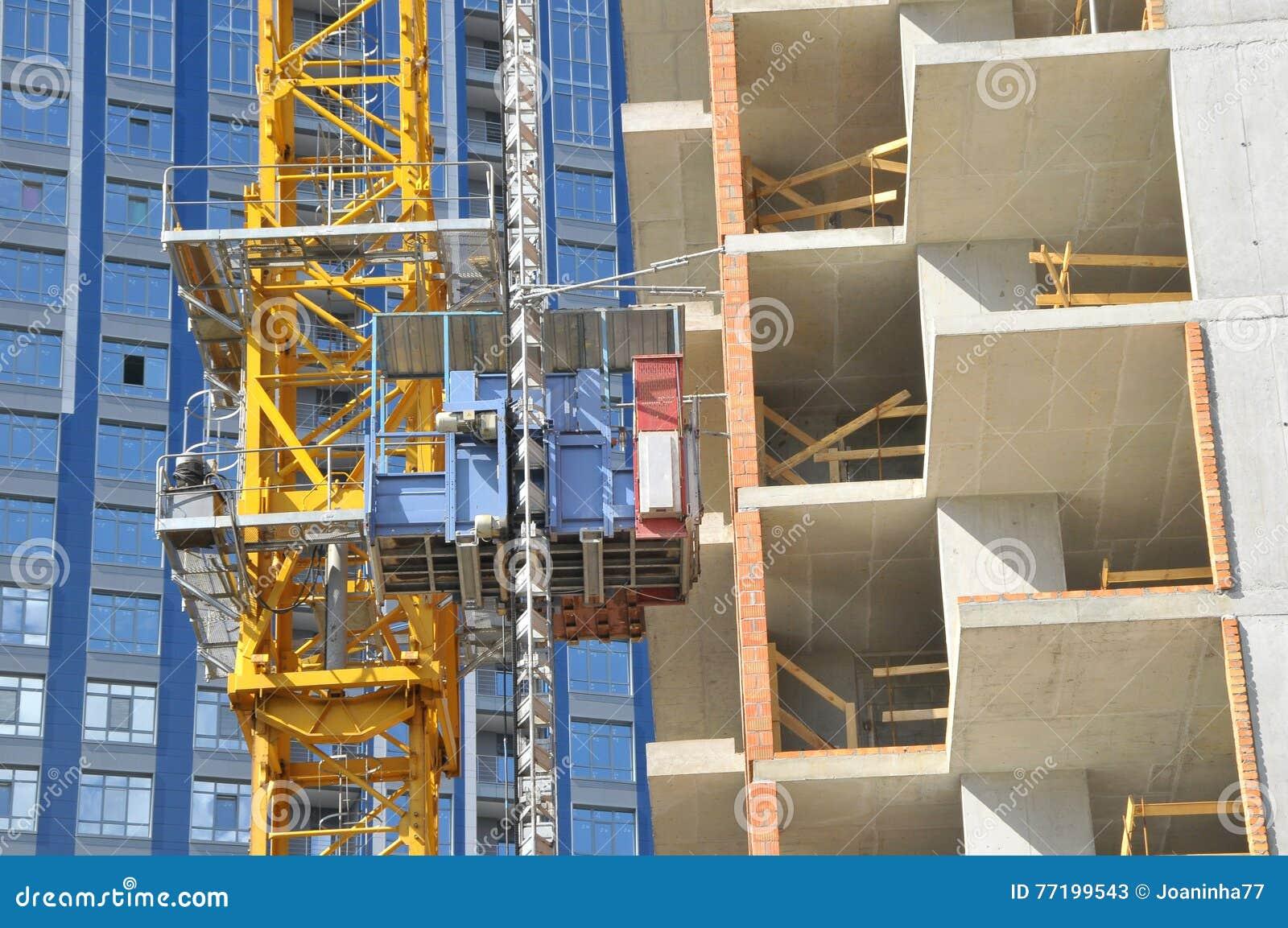 The technology or art of high rise apartment construction using crane, lift, metal beam, brick, metal ladder