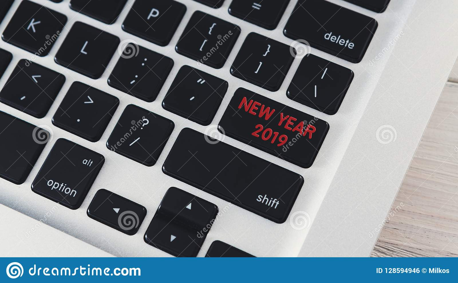 Computer Notebook Keyboard With New Year 2019 Key Stock