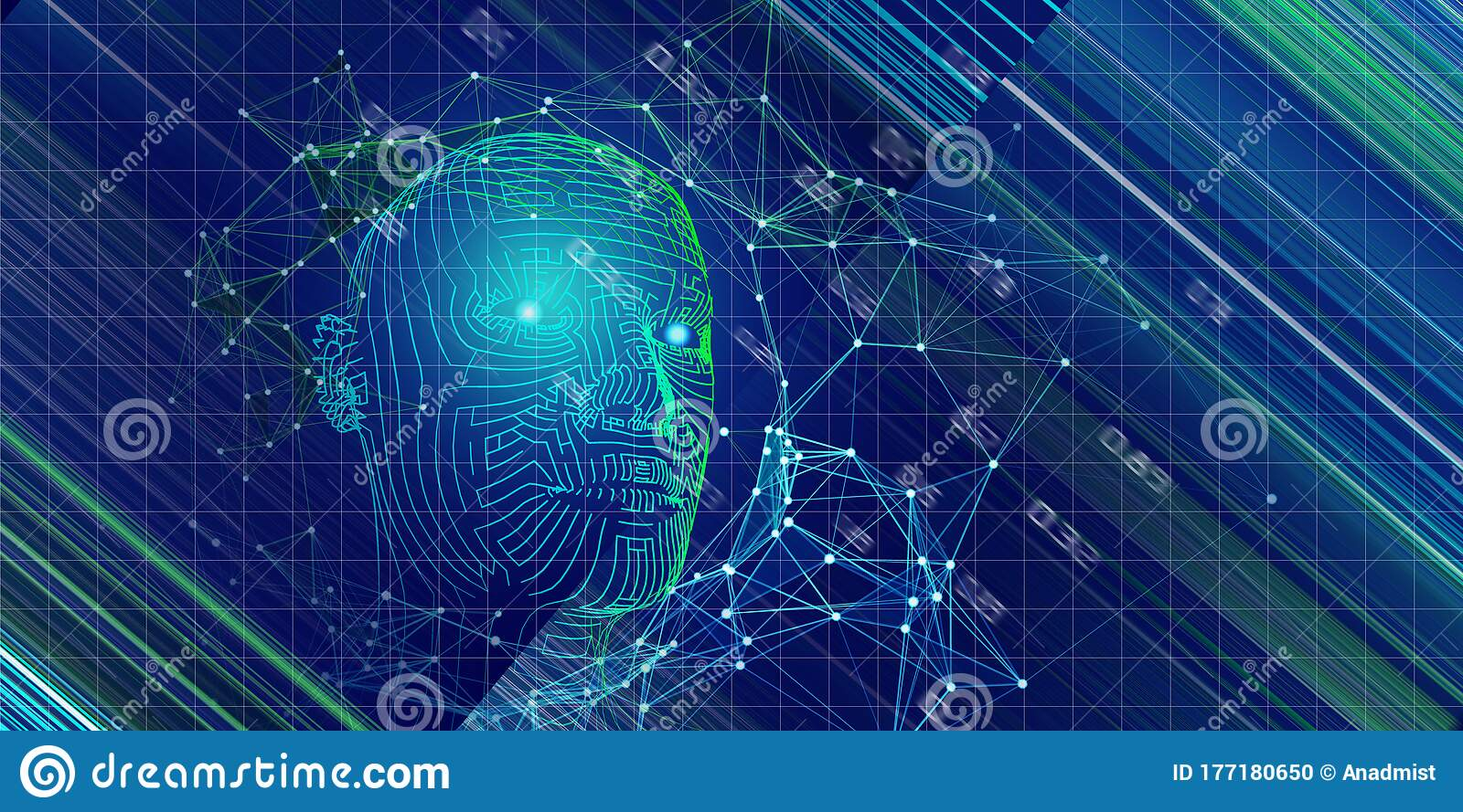 Technology Background Of 3d Grid Head With Blurred Lines