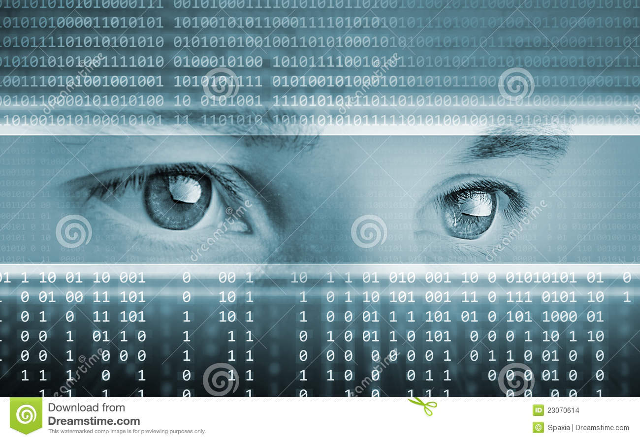 Technology background with eyes