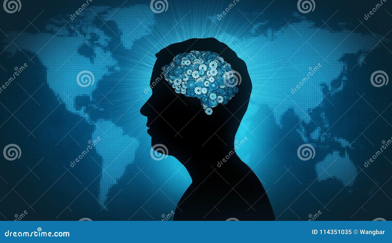 Technology brain - man of the world