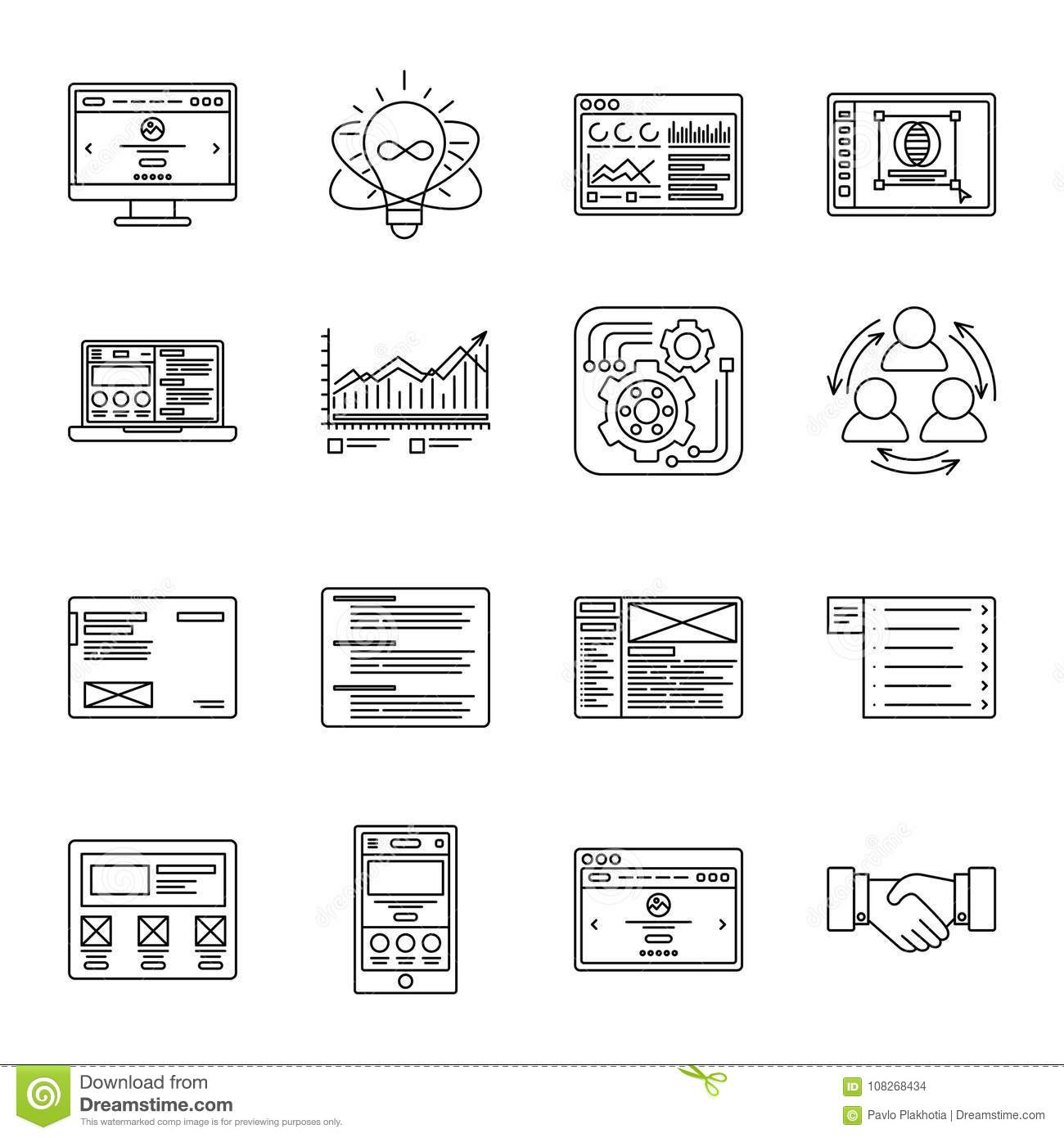 Technology And Business Thin Line Icons Set Symbols For Management