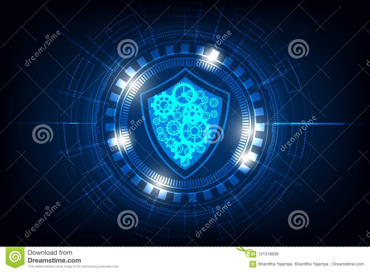 Technology circle with security and gear on blue background,vector illustration.