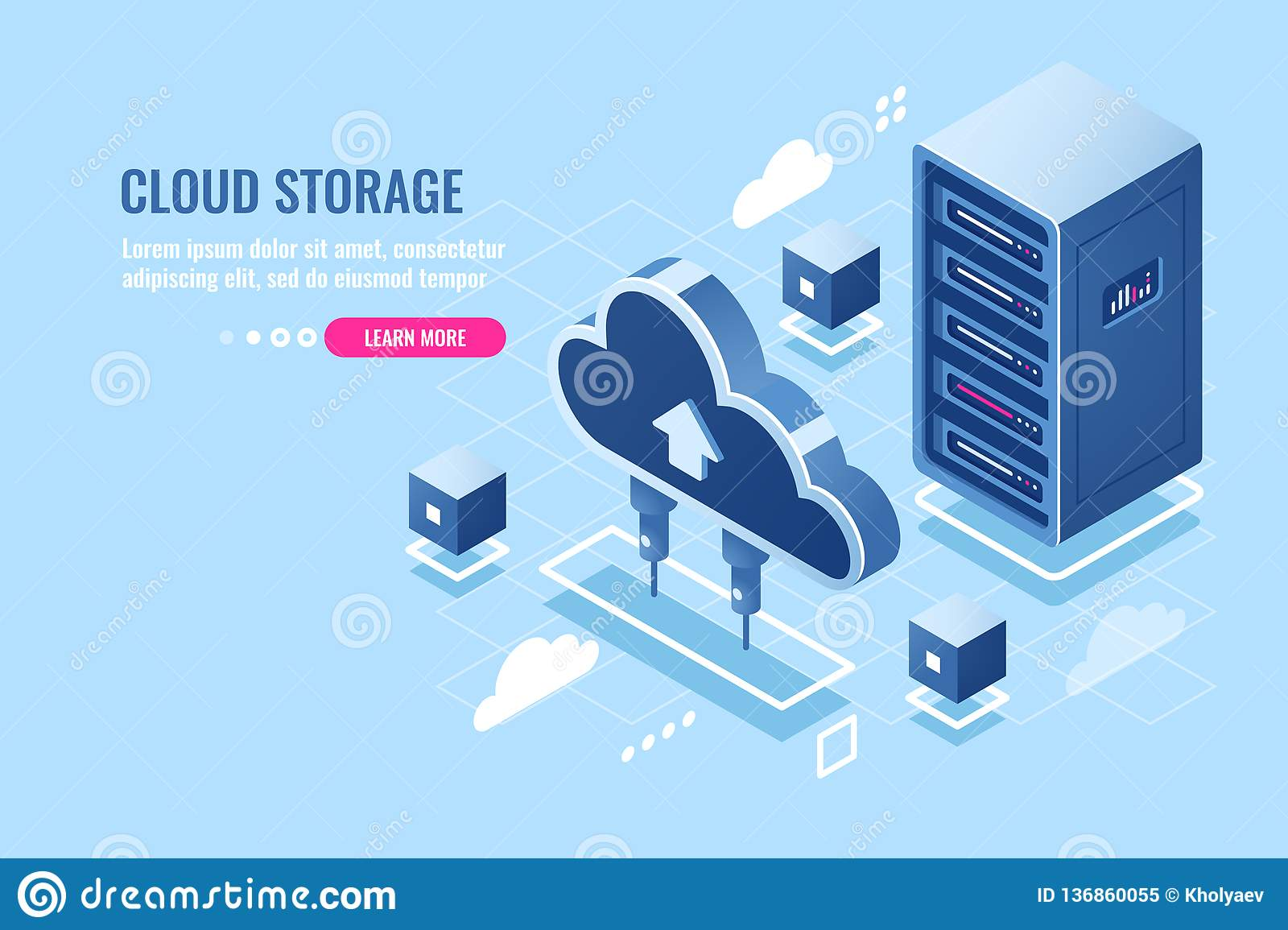 Technology of cloud data storage, server room rack, database and data center isometric icon, abstract concept, download