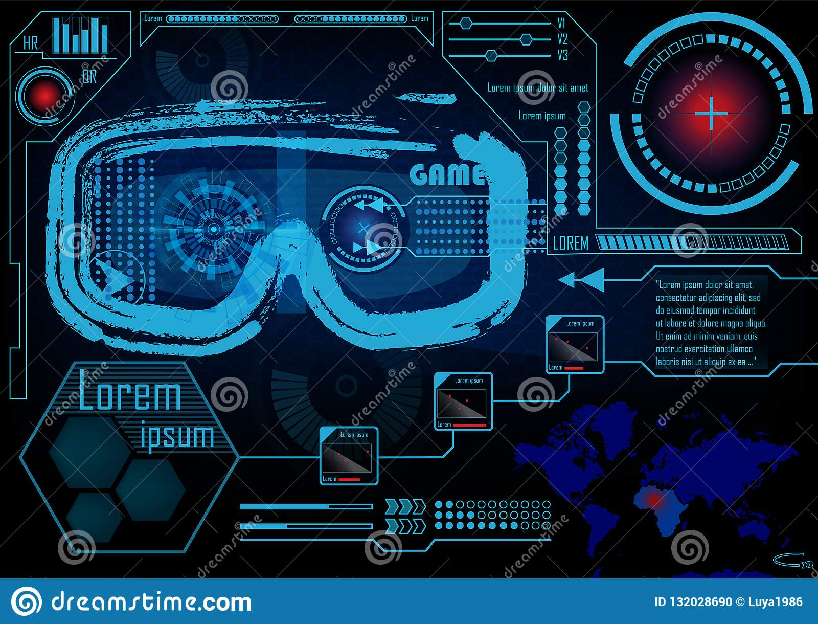 Technology Concept With Hud, Gui Design Elements. Head-up Display Monitor. Futuristic User Interface. Infographic Menu Ui For