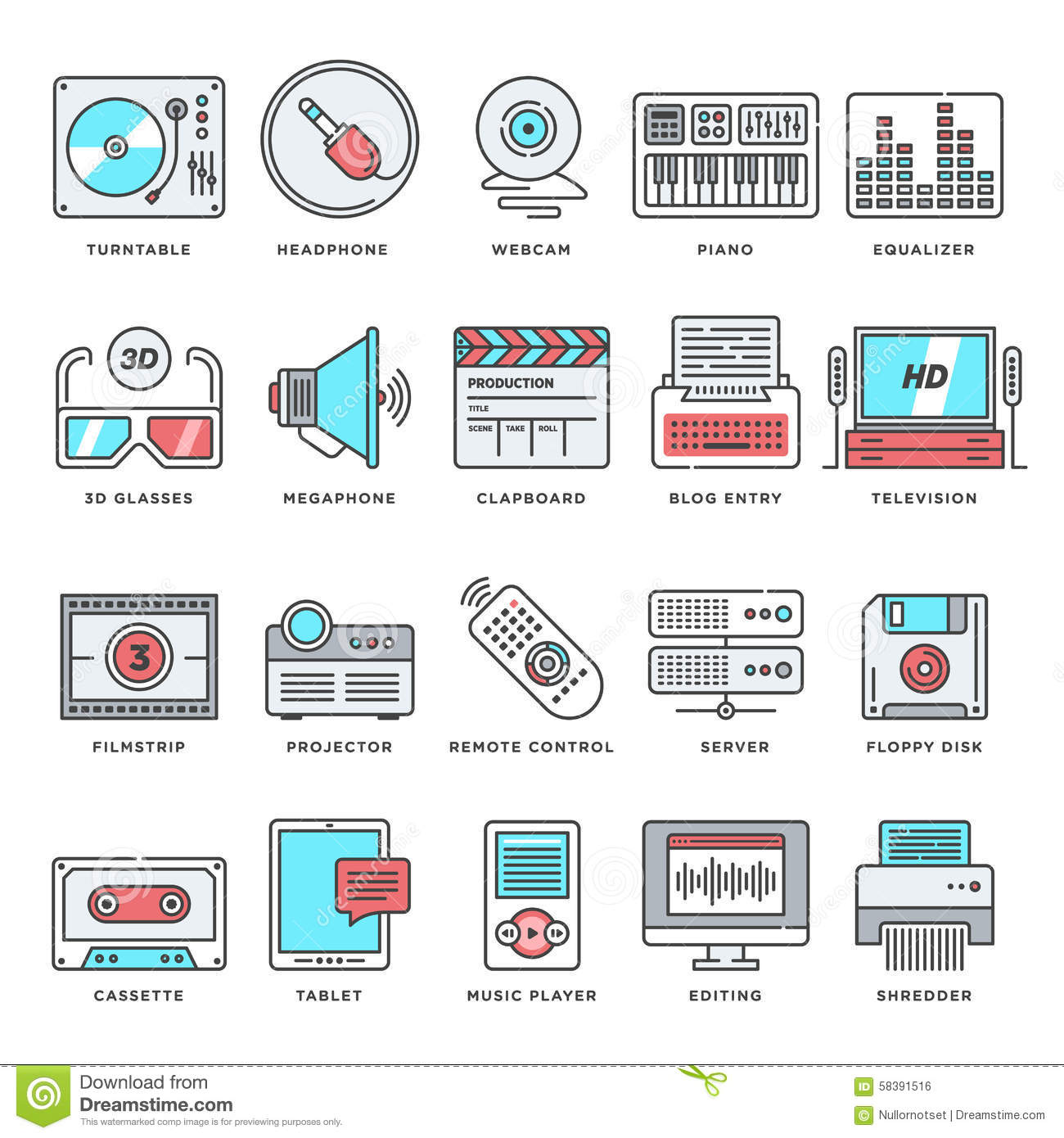 Technology And Culture Flat Line Icon Set Stock Vector