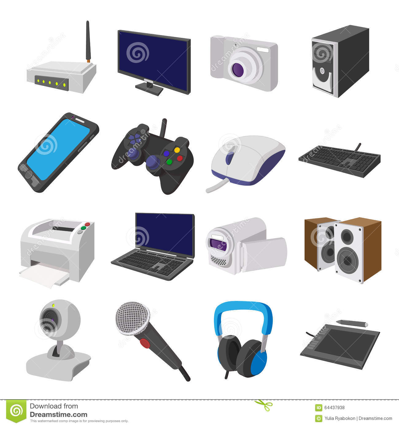 Technology And Devices Cartoon Icons Set Stock Vector ...