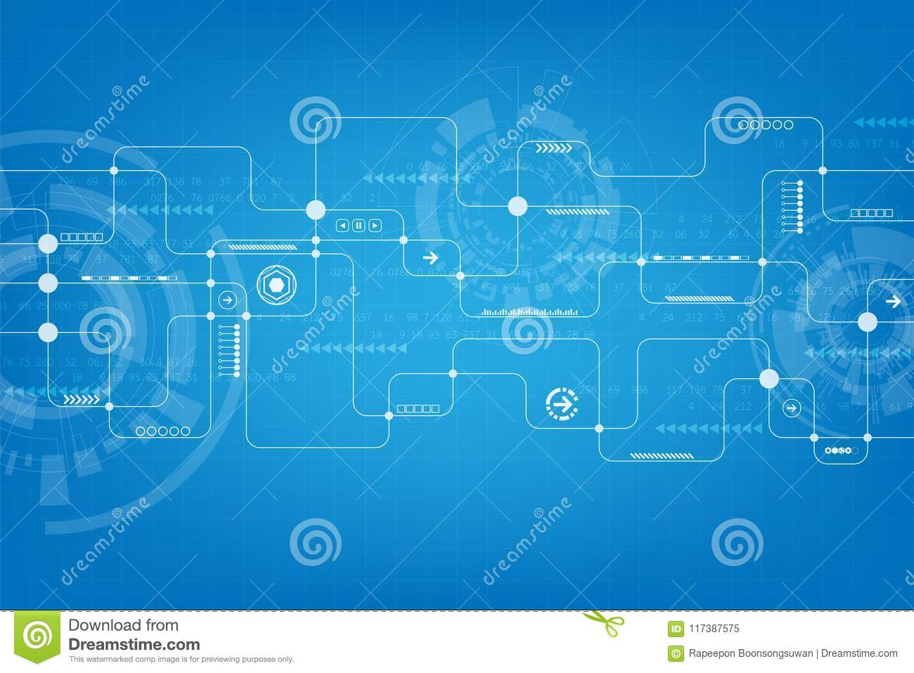 Technology In The Form Of Electronic Circuit Design Stock Vector Basic
