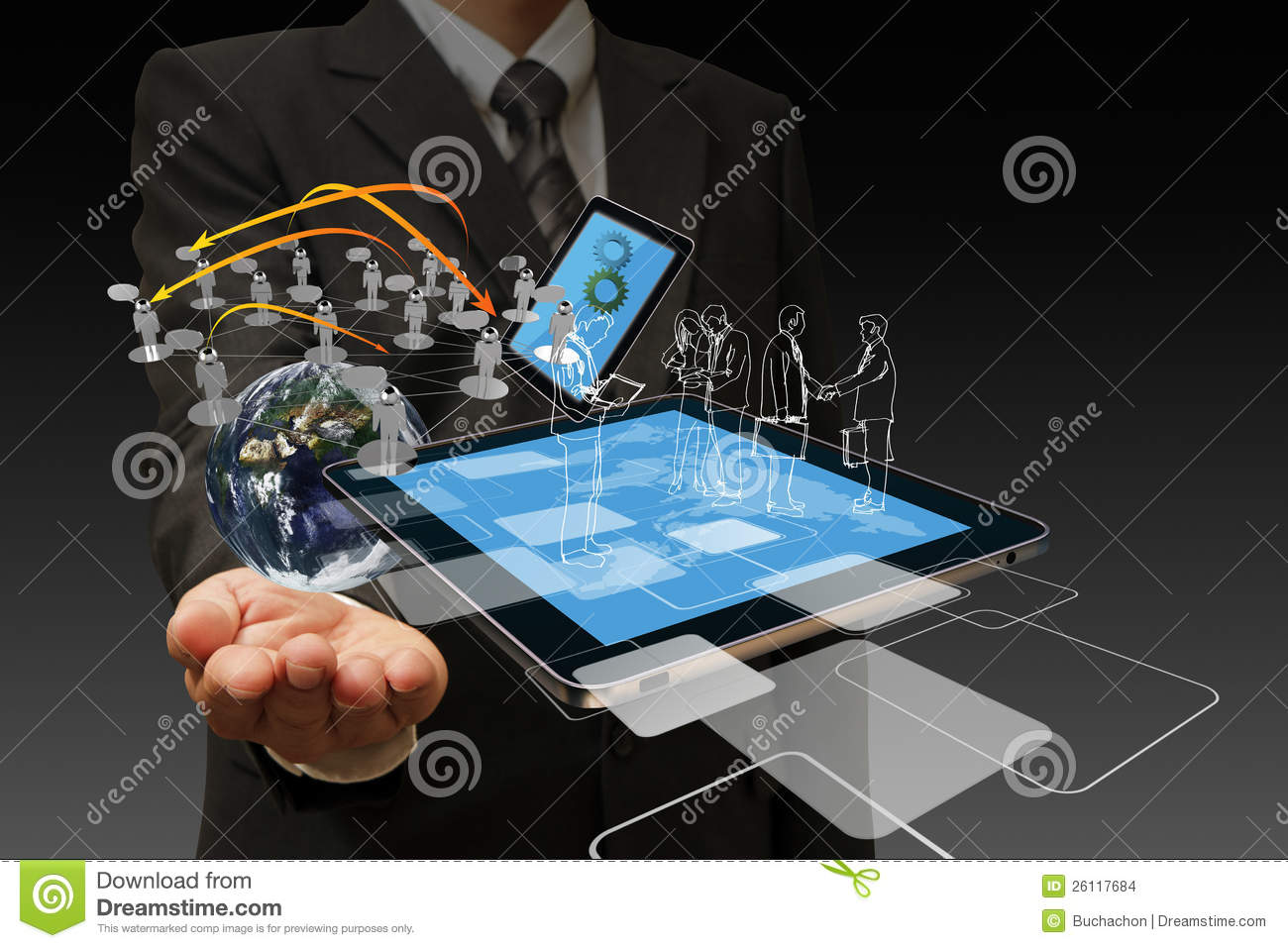 Technology Management Image: Technology In The Hand Of Businessmen Stock Images