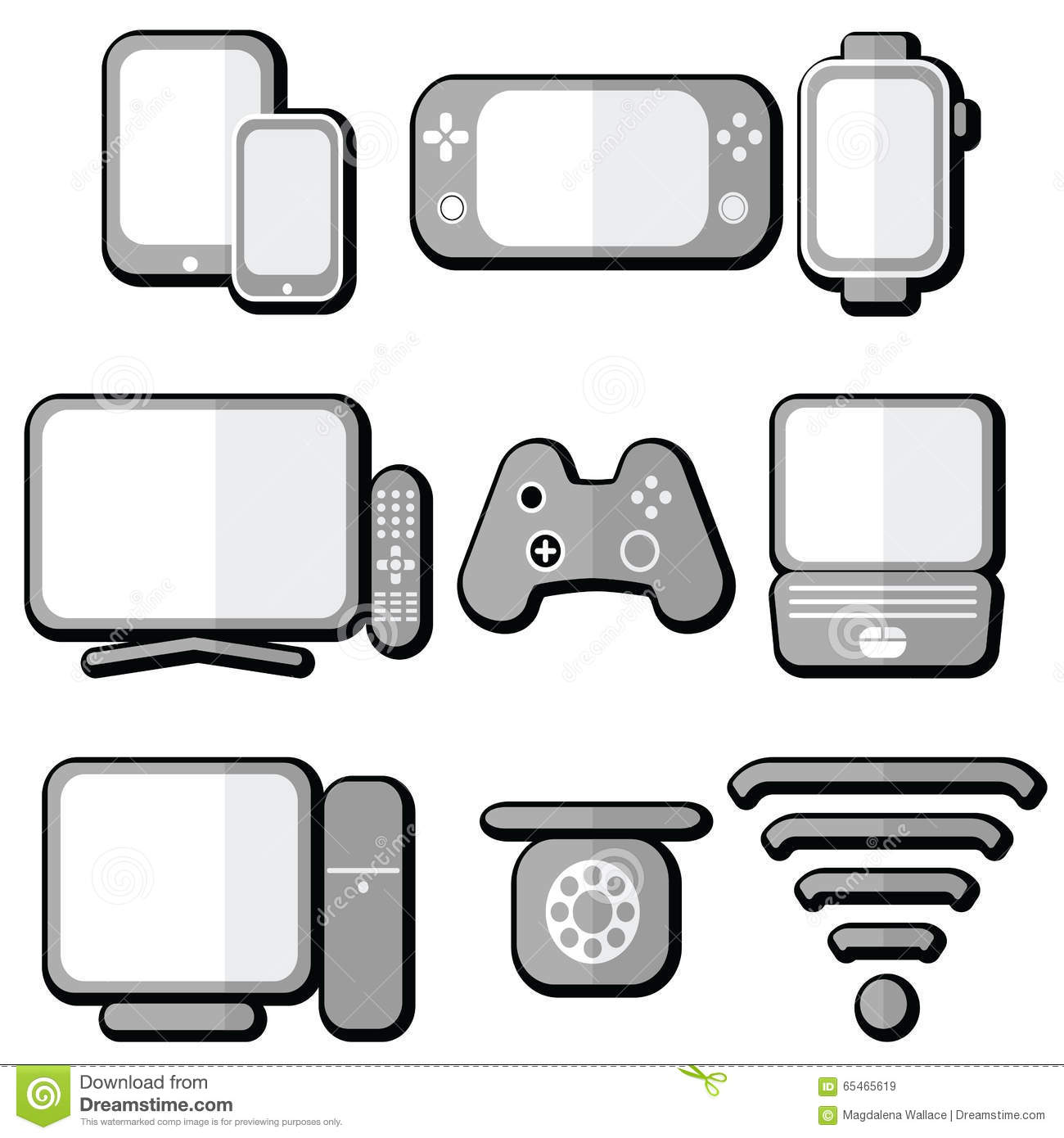Technology icons set with tablet mobile phone smart for Console mobile