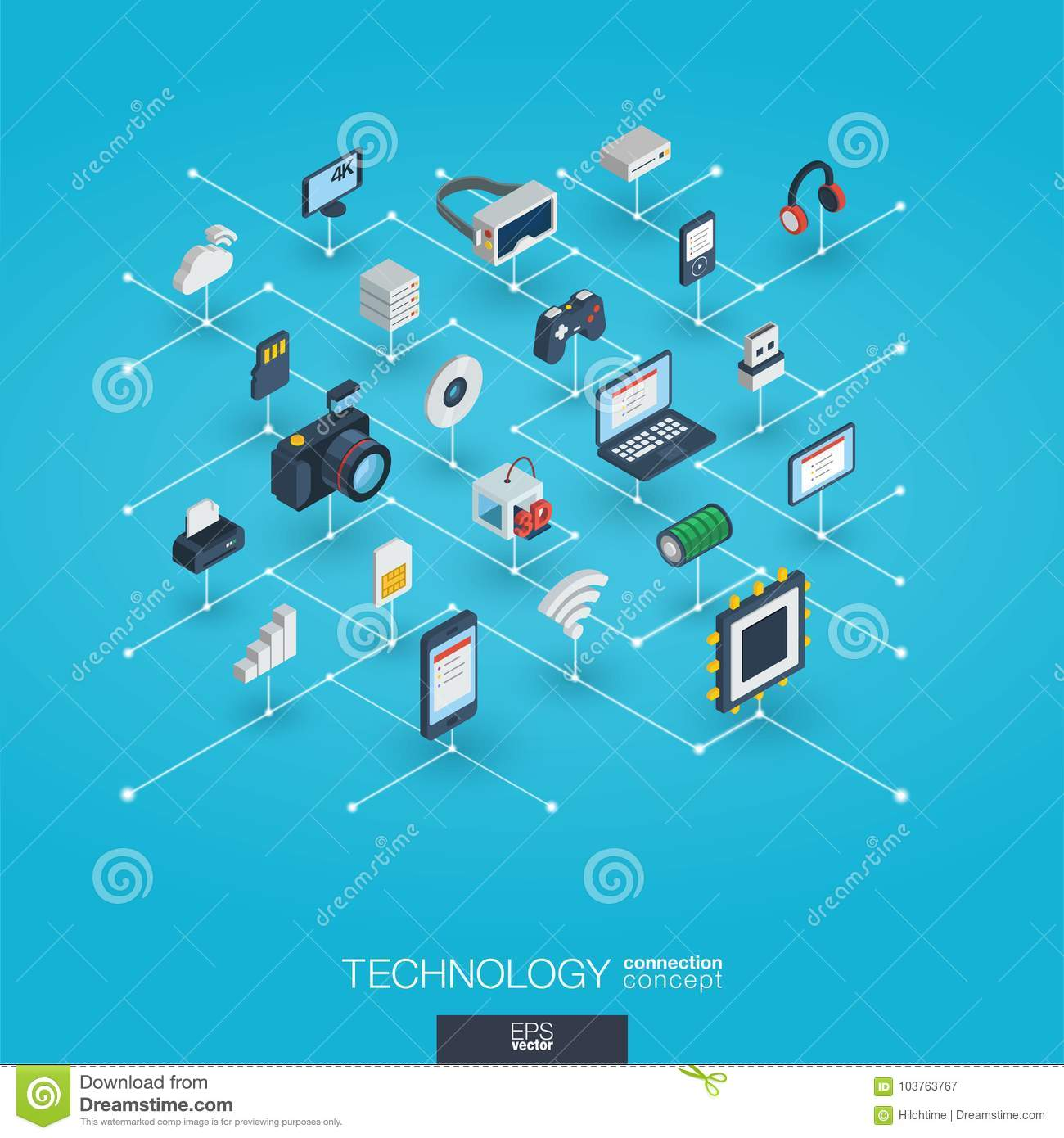 Technology Integrated 3d Web Icons Digital Network Isometric Circuit Diagram Wireless Printer Interact Concept Connected Graphic Design Dot And Line System Background Whith Printing Virtual Reality