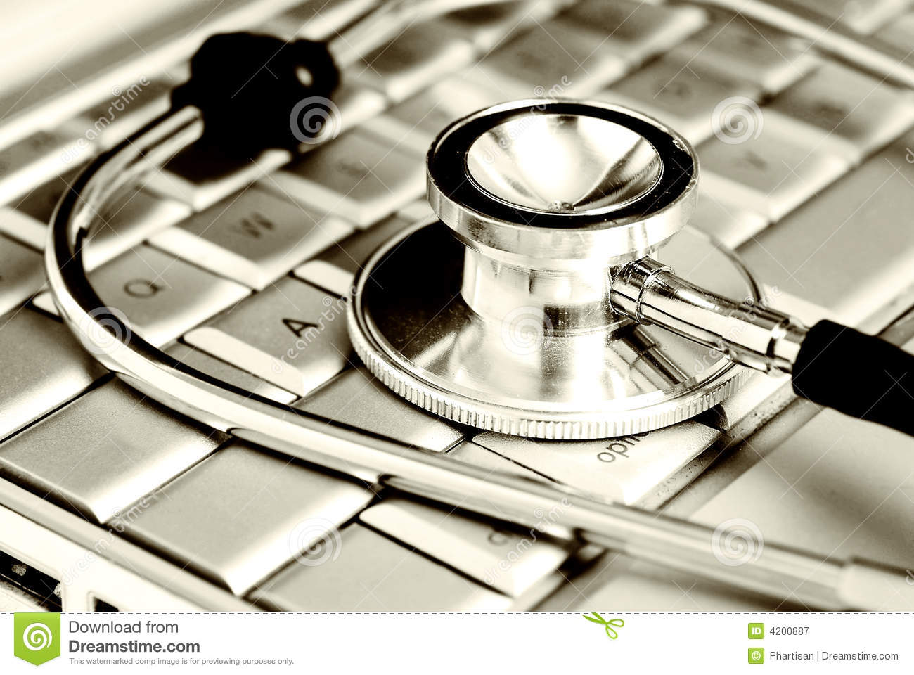 Technology and medicine - Silver stethoscope over