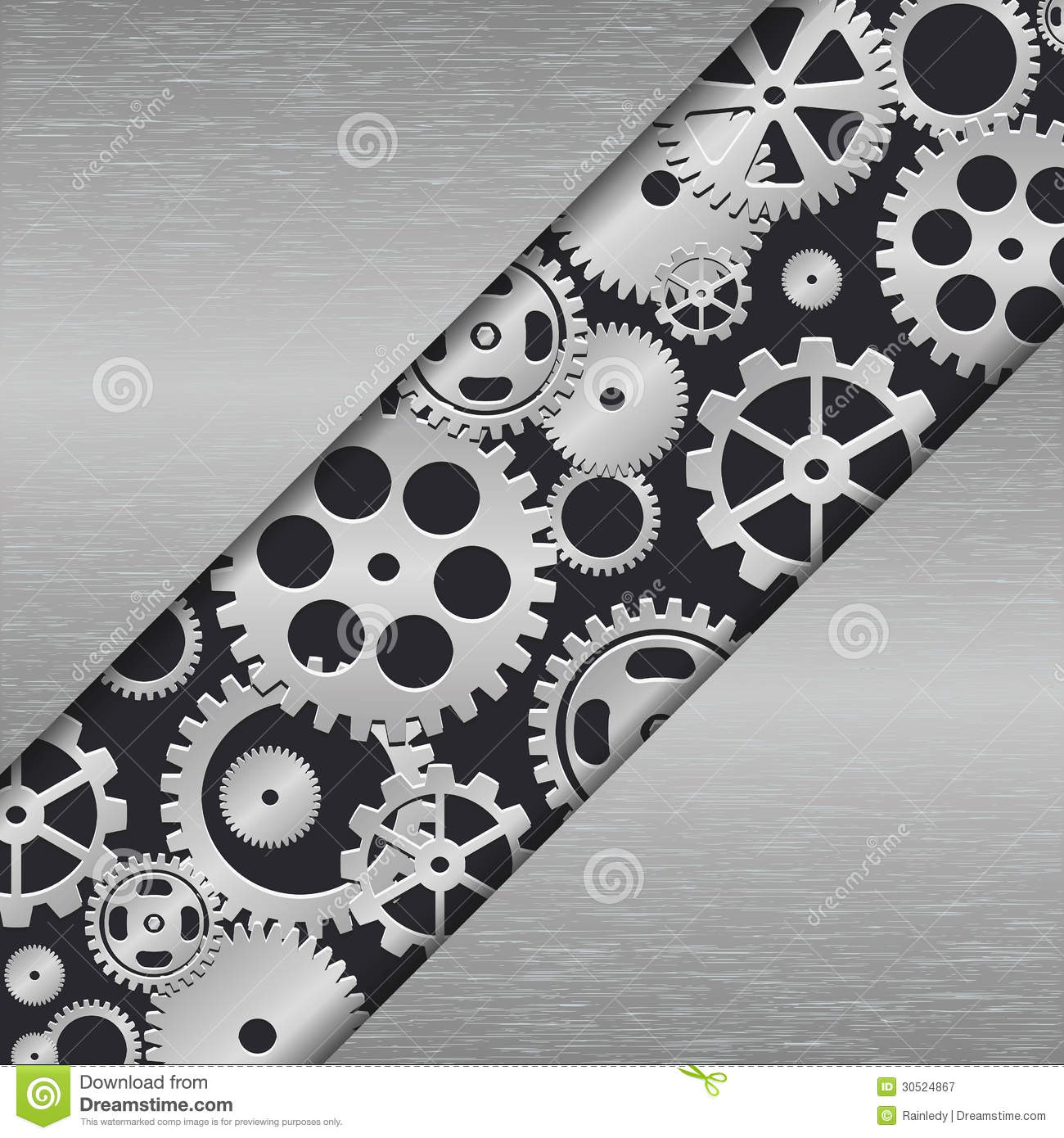 Technology Metal Background With Gears  Stock Vector