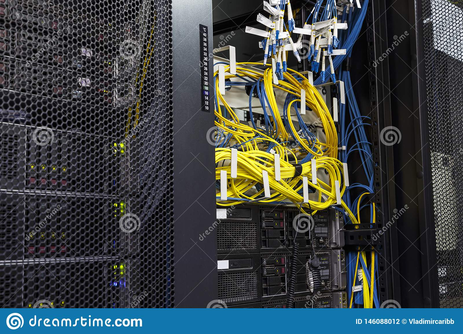 Technology Network Cable Network Server Room Routers With Fusebox Panel Stock Photo Image Of Array Optic 146088012