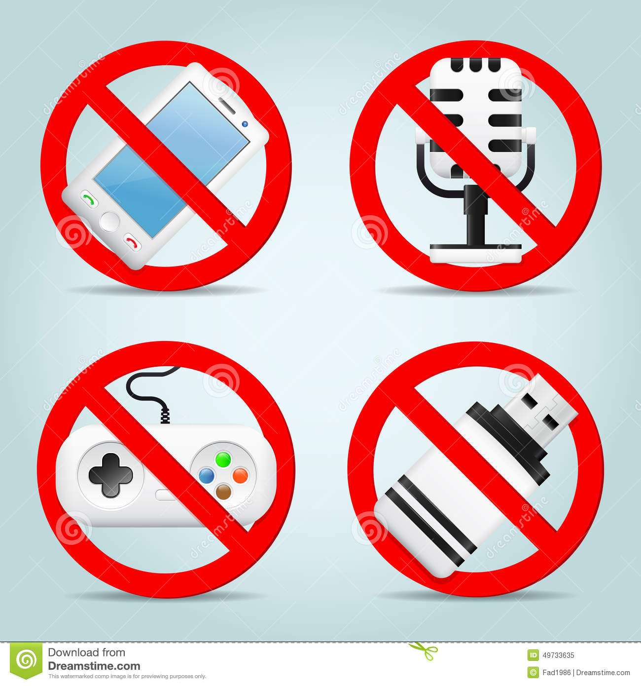 technology signs prohibited game flash vector phone drive illustration microphone gaming preview