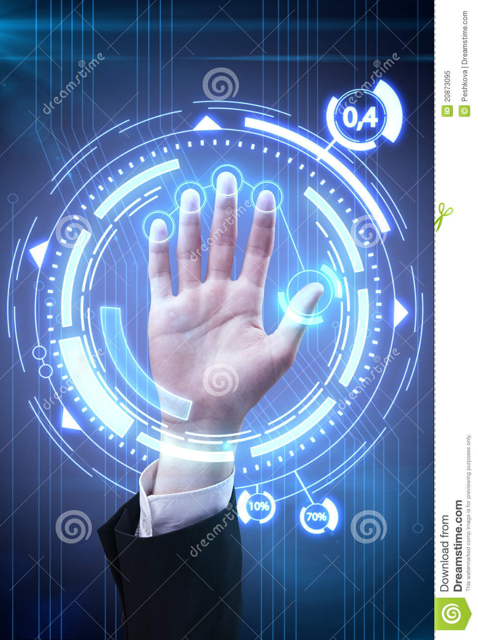 Technology Scan Man S Hand For Security Royalty Free Stock