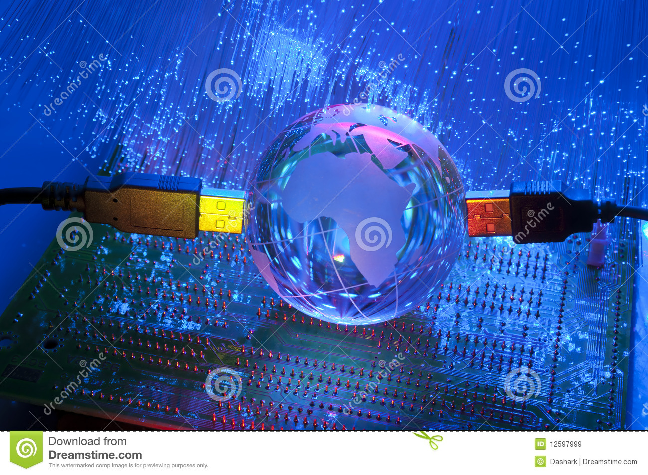 Technology USB with earth globe