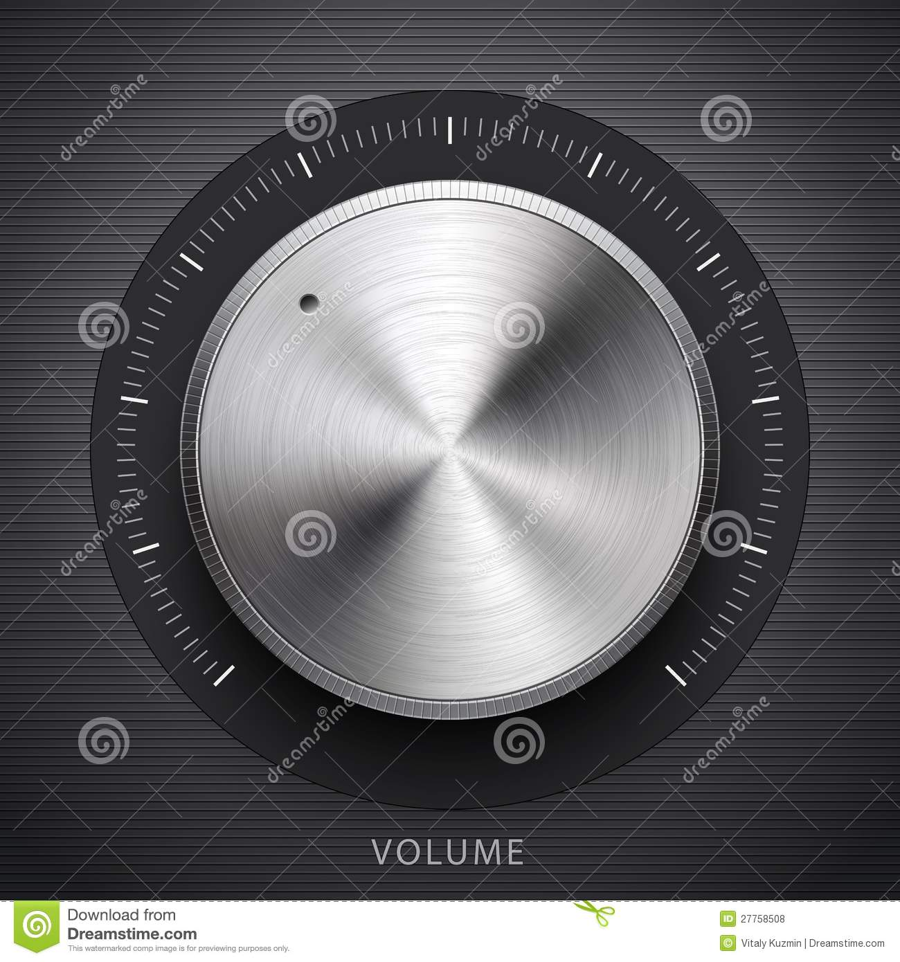 Technology Volume Button With Metal Texture Royalty Free