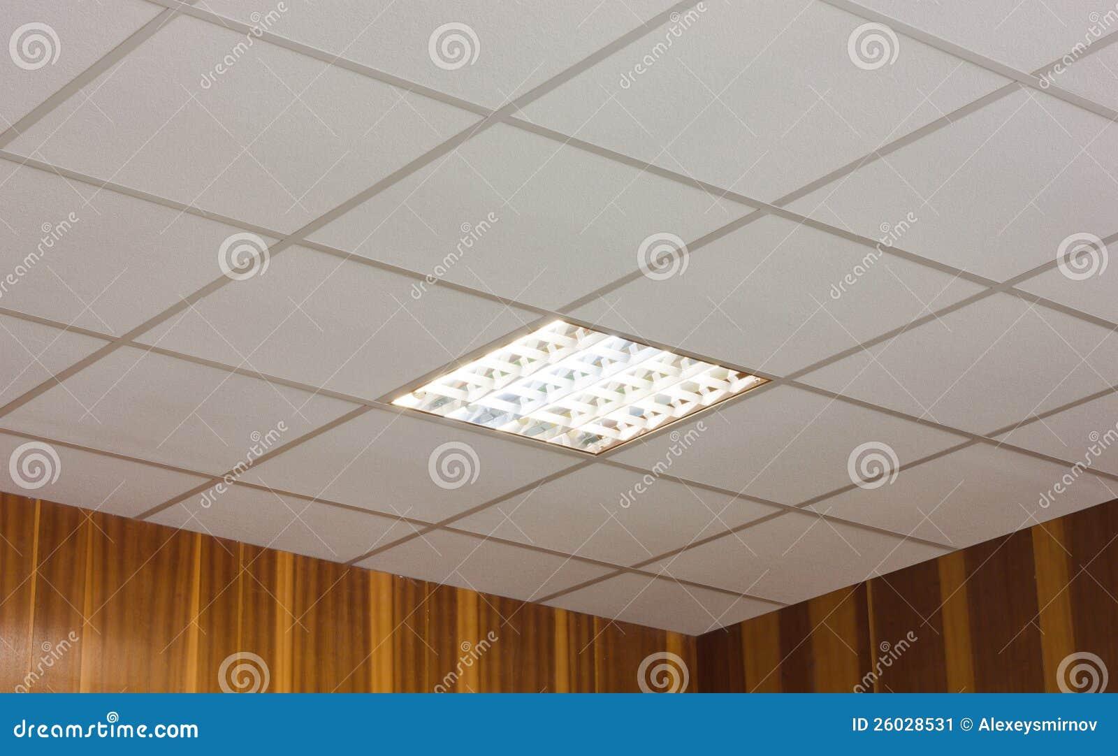 Techo de la oficina con la l mpara fluorescente - Lamparas de oficina techo ...