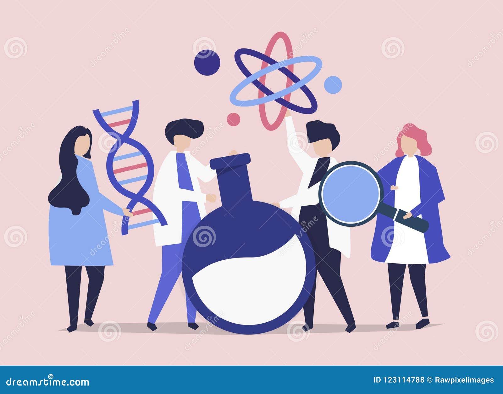 Tecken av forskare som rymmer kemisymbolsillustrationen
