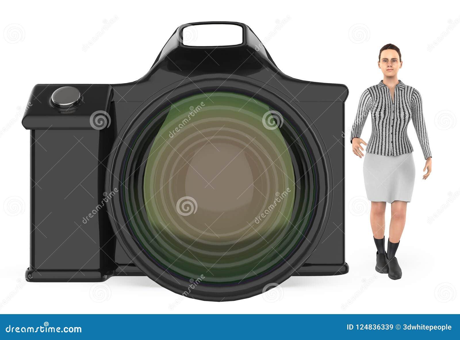 Tecken 3d, kvinna och en kamera