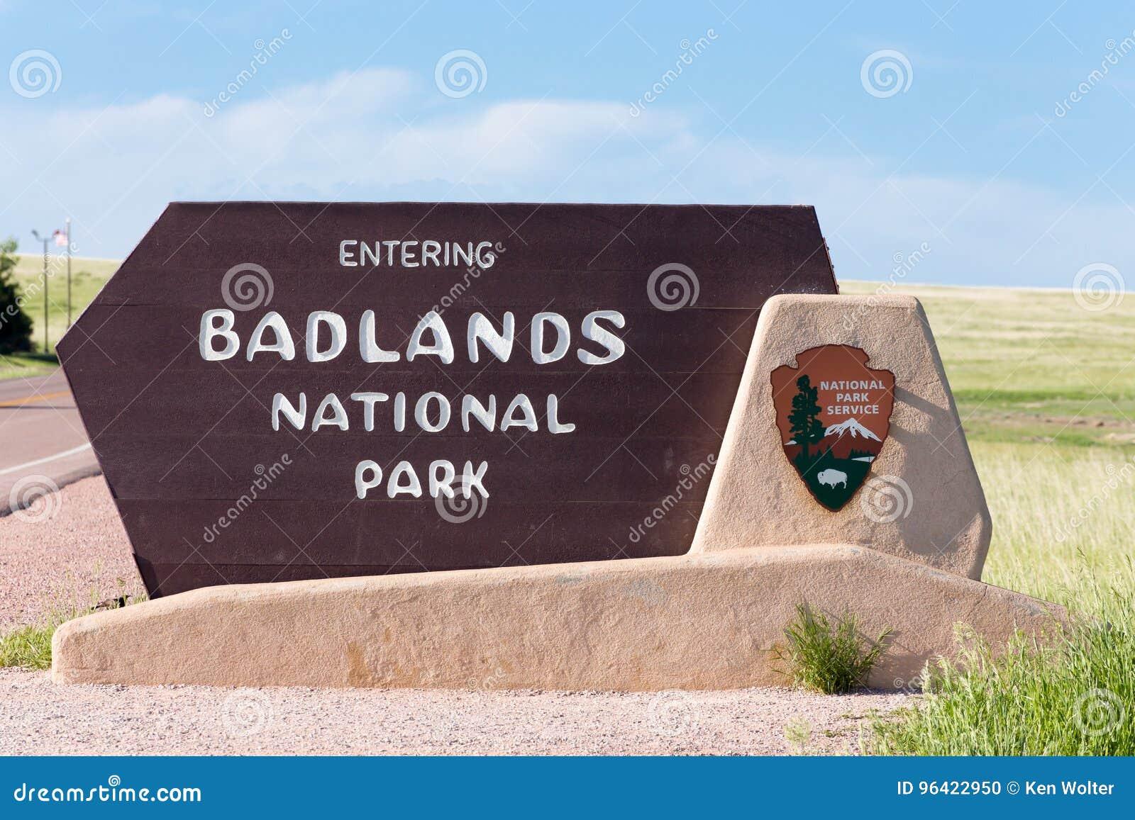 Tecken för Badlandsnationalparkingång