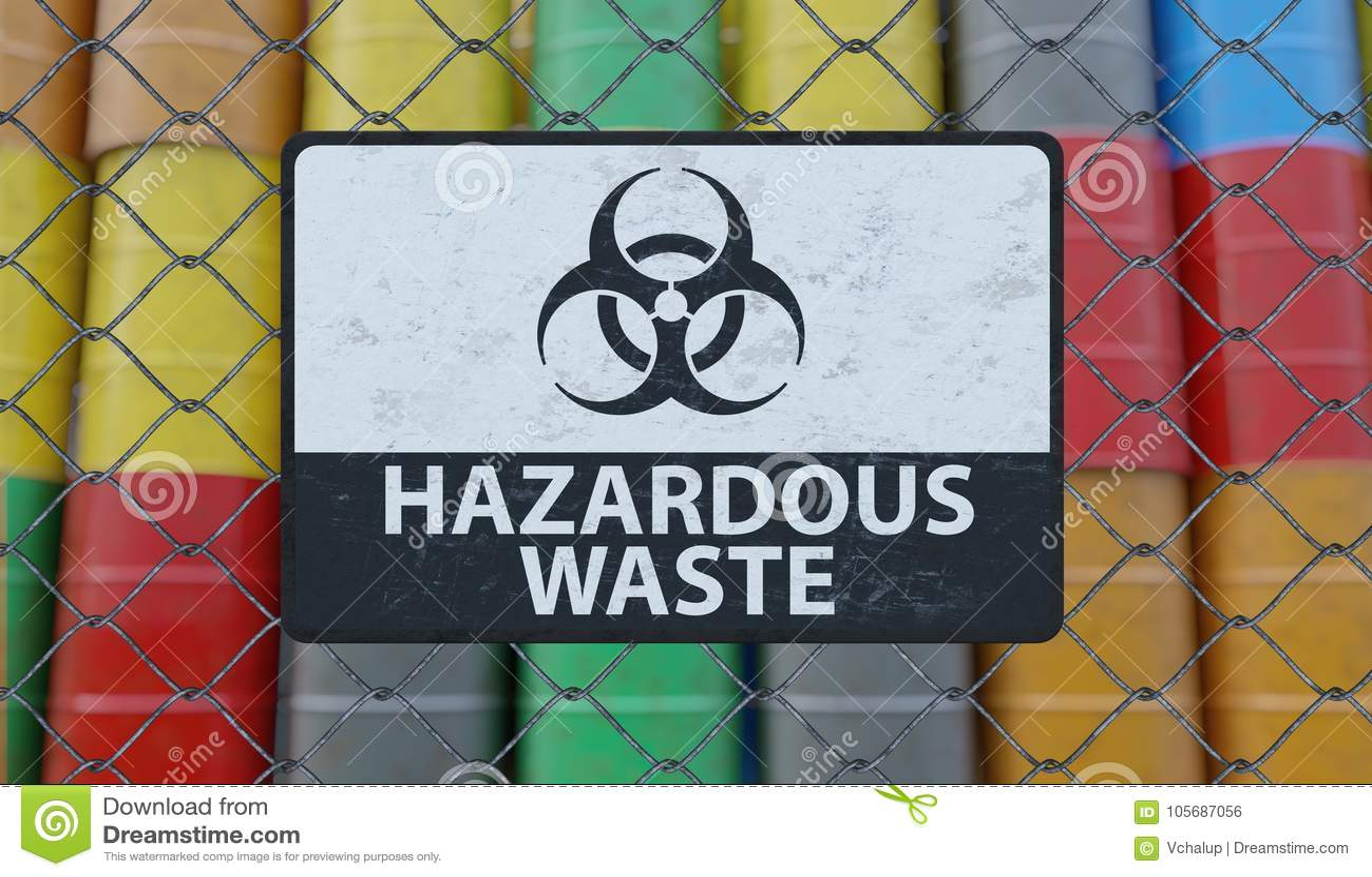 Tecken för farlig avfalls på staketet för chain sammanlänkning Olje- trummor i bakgrund framförd illustration 3d