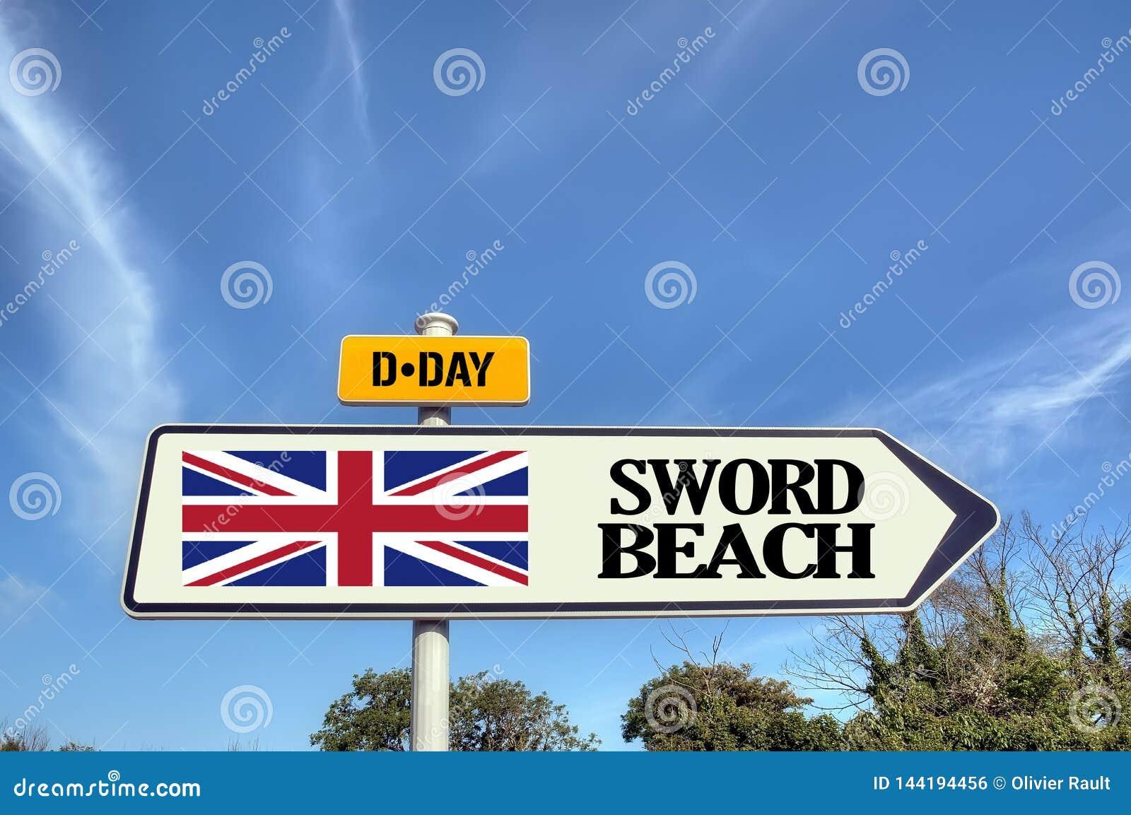 Tecken för Frankrike Normandie svärdstrand