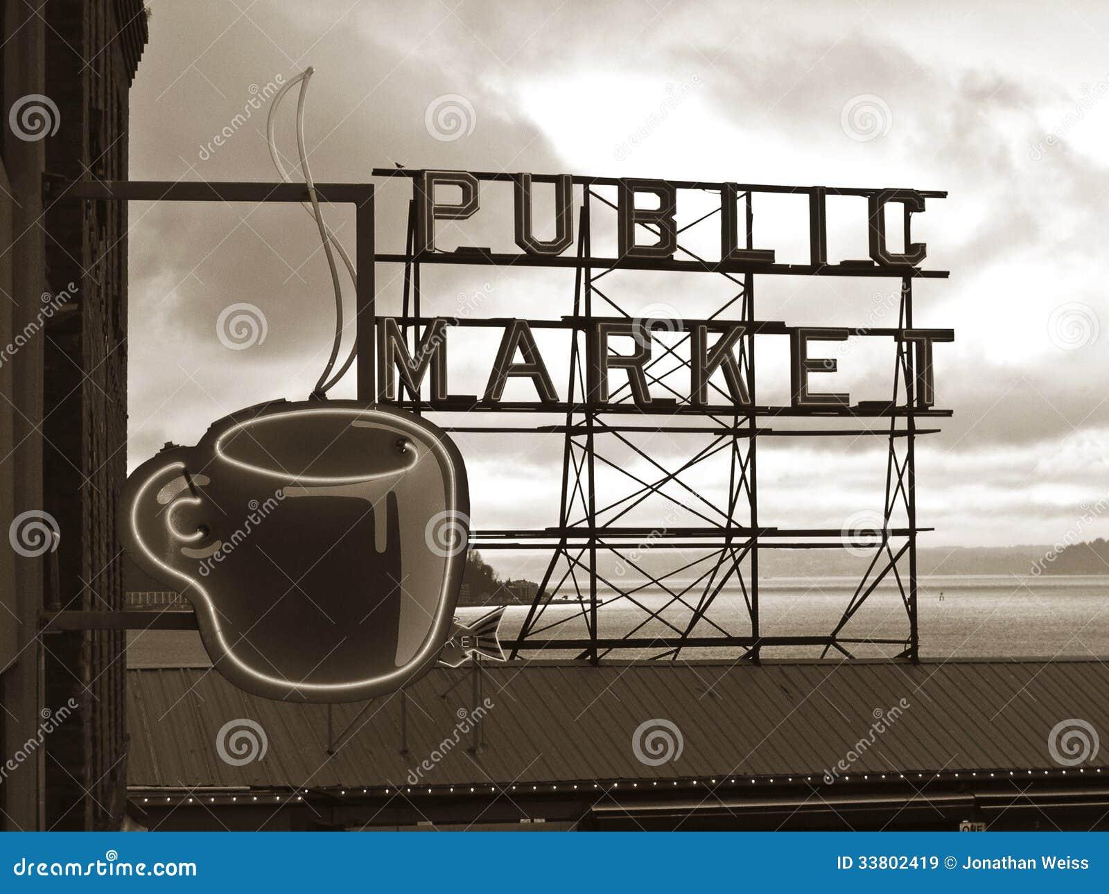 Tecken för offentlig marknad - Seattle, Washington