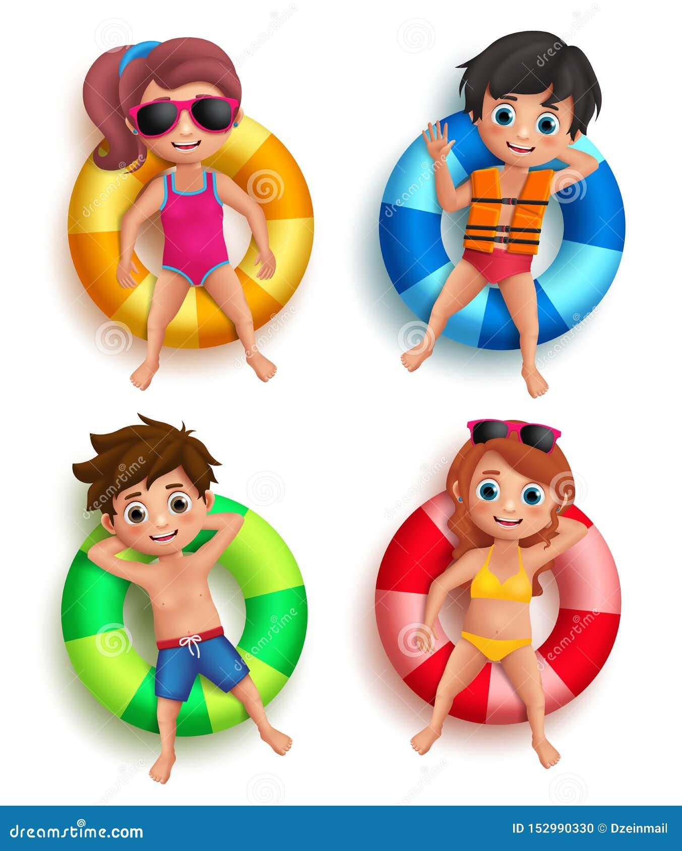 Tecken för pojke- och flickaungevektor som svävar med färgrik livboj
