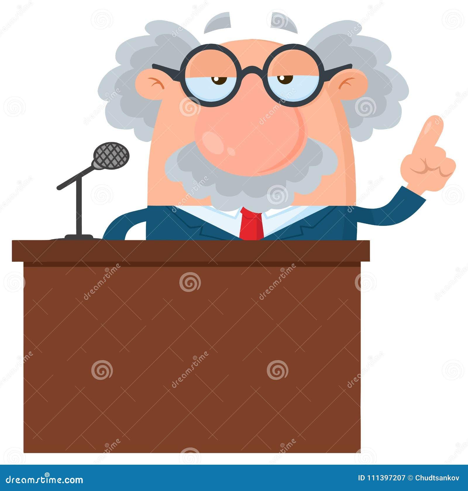 Tecken för professor som Or Scientist Cartoon talar bak ett podium med anförandebubblan