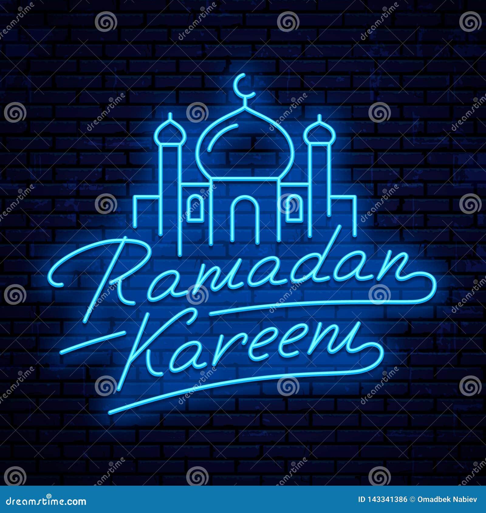 Tecken för Ramadan Kareem vektorneon