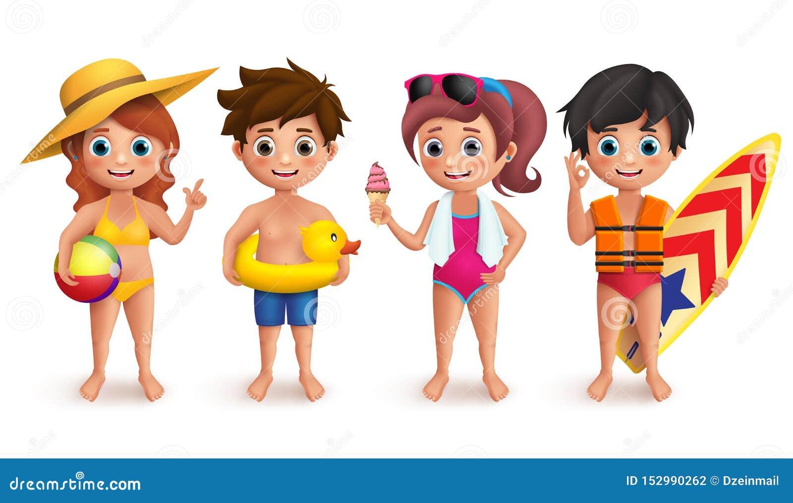 Tecken för sommarungevektor ställde in med pojkar och flickor som bär simma bollen för bikiniinnehavstranden