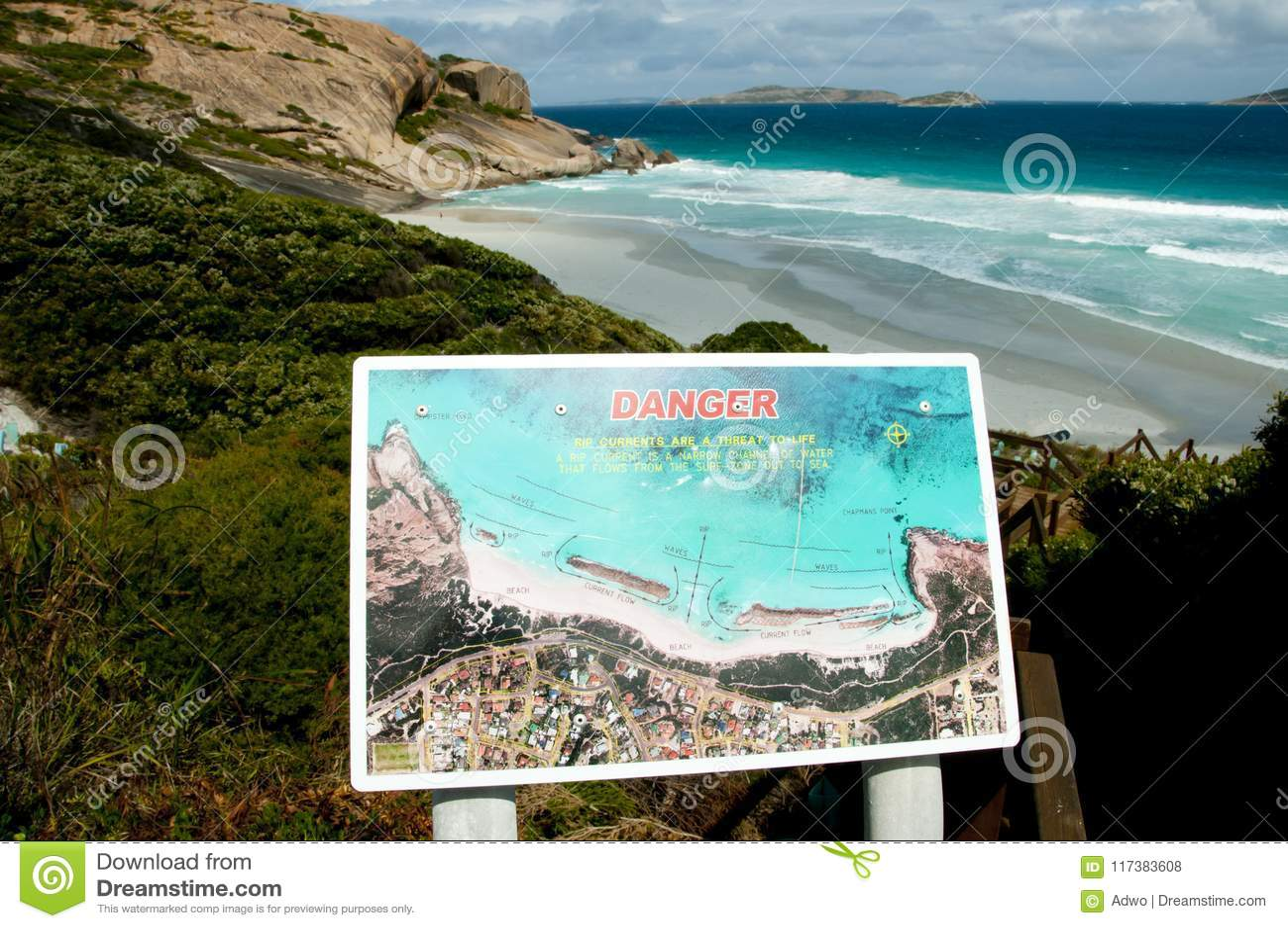 Tecken för strand för revaström