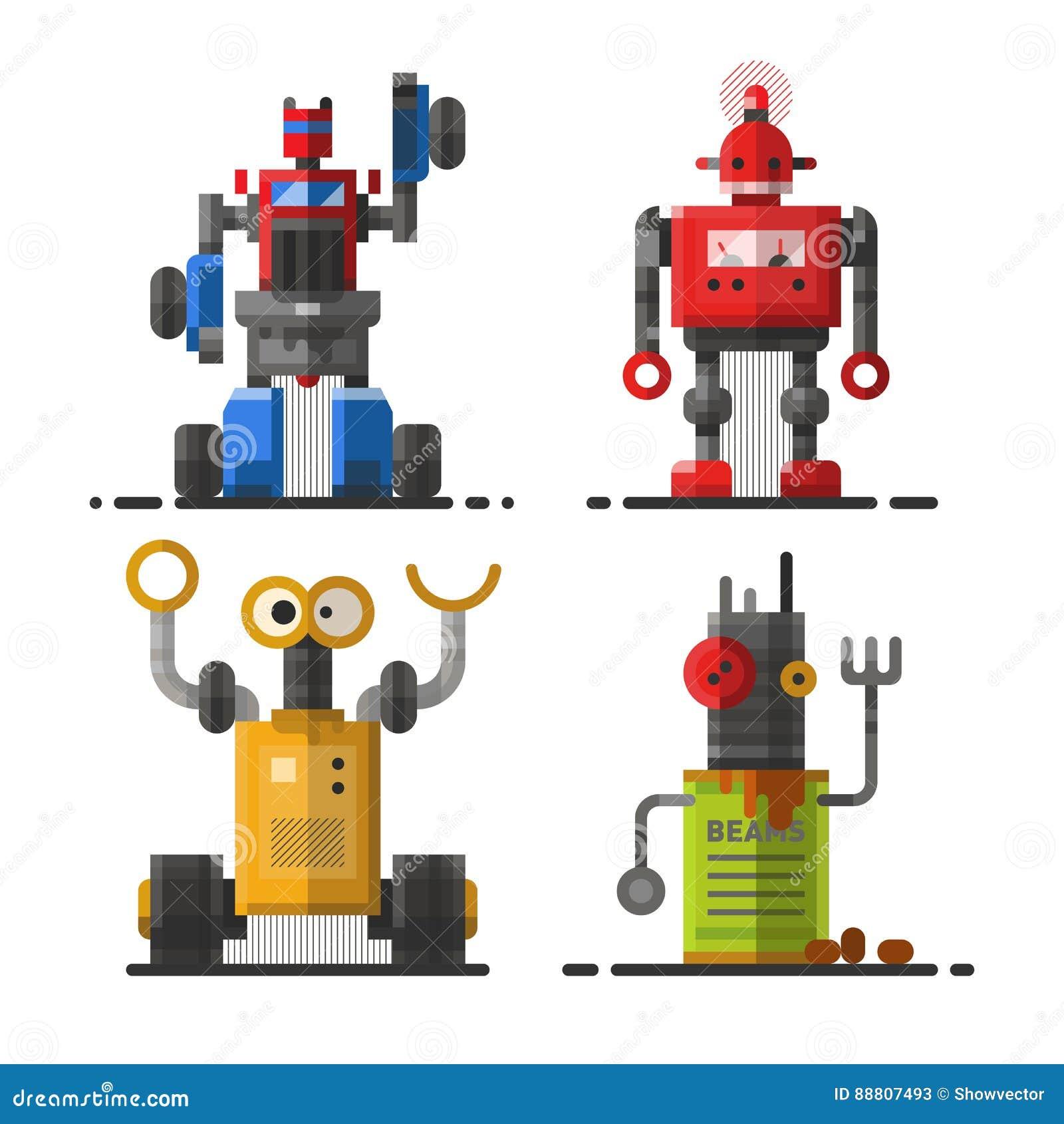 Tecken för symbol för beståndsdel för futuristisk design för leksak och för cyborg för vetenskap för gullig maskin för tappningro