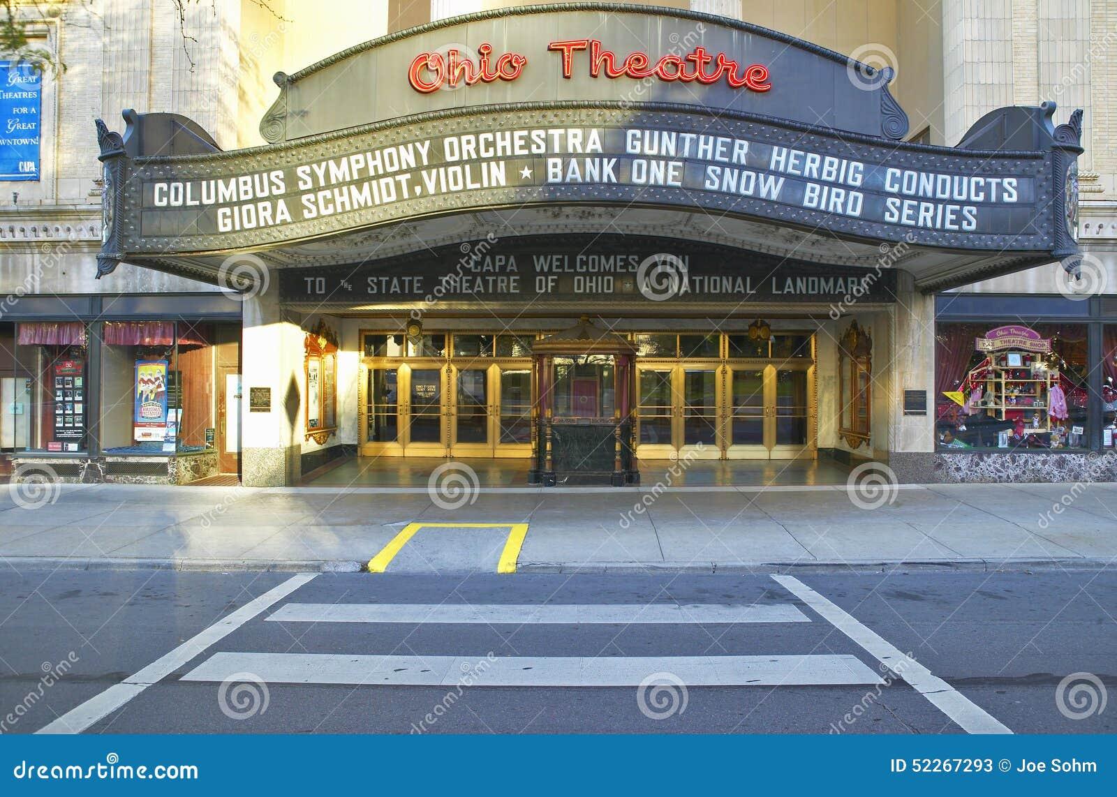 Tecken för teater för Ohio teaterstort festtält som annonserar Columbus Symphony Orchestra i i stadens centrum Columbus, OH