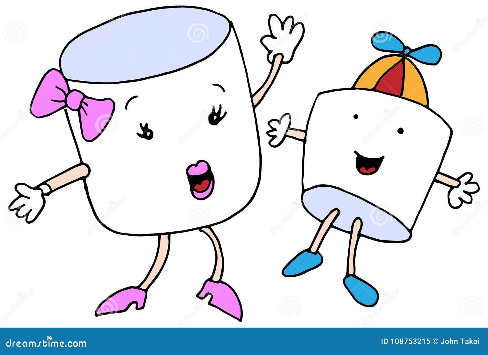 Tecken för tecknad film för marshmallowmammason