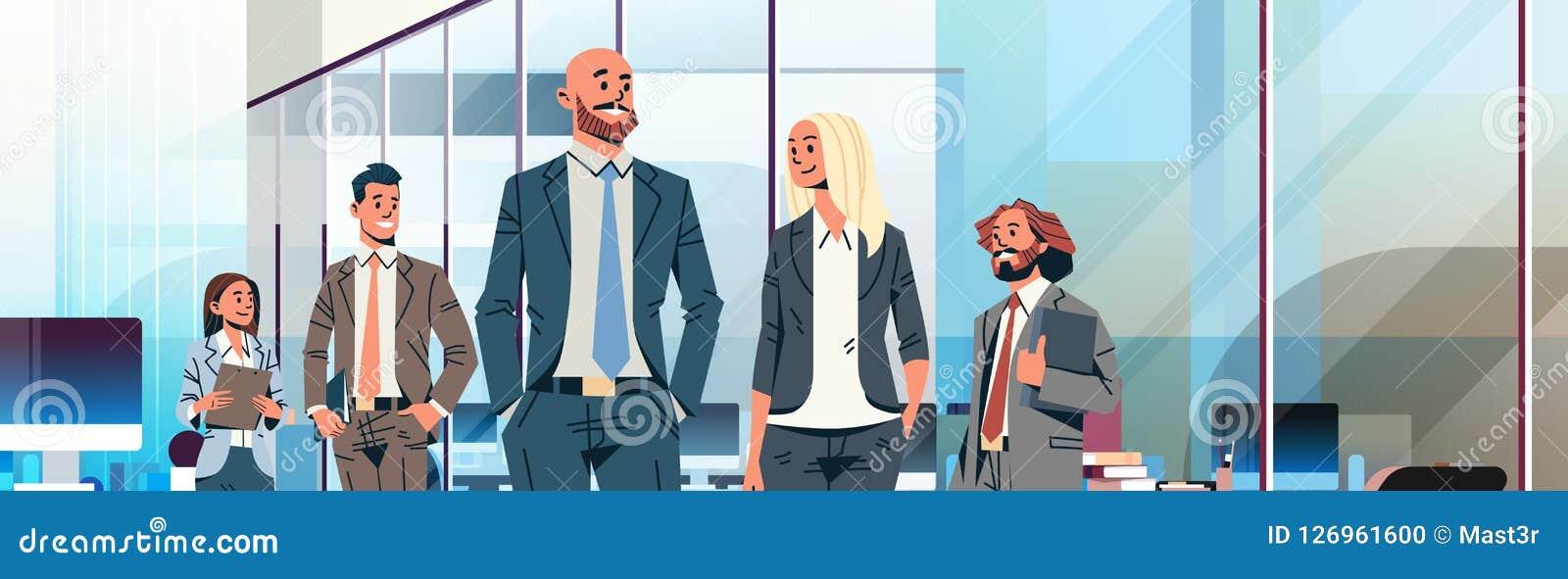 Tecken för tecknad film för modernt kontor för kvinnor för affärsmän för begrepp för ledarskap för ledare för lag för affärsfolk