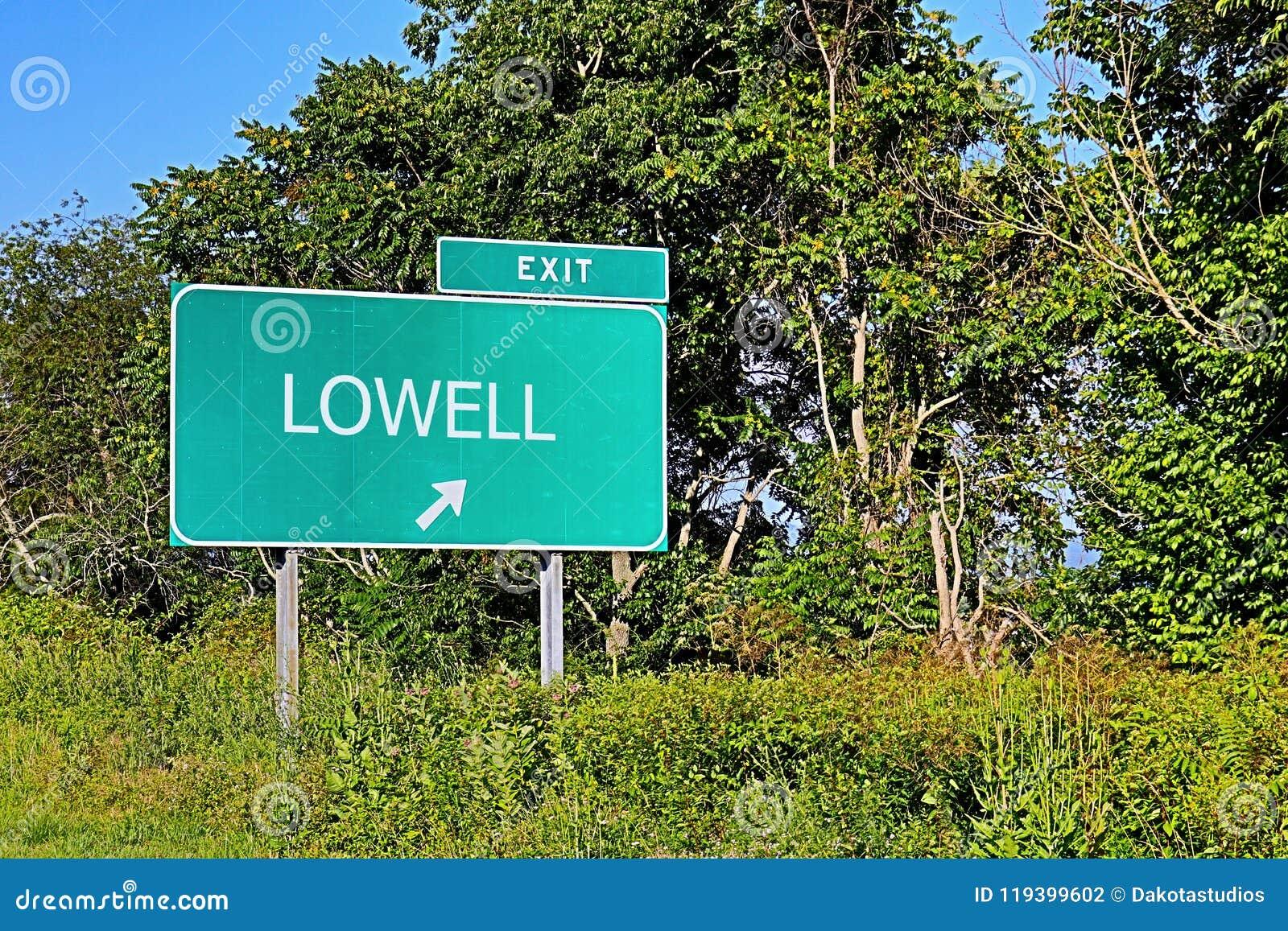 Tecken för USA-huvudvägutgång för Lowell