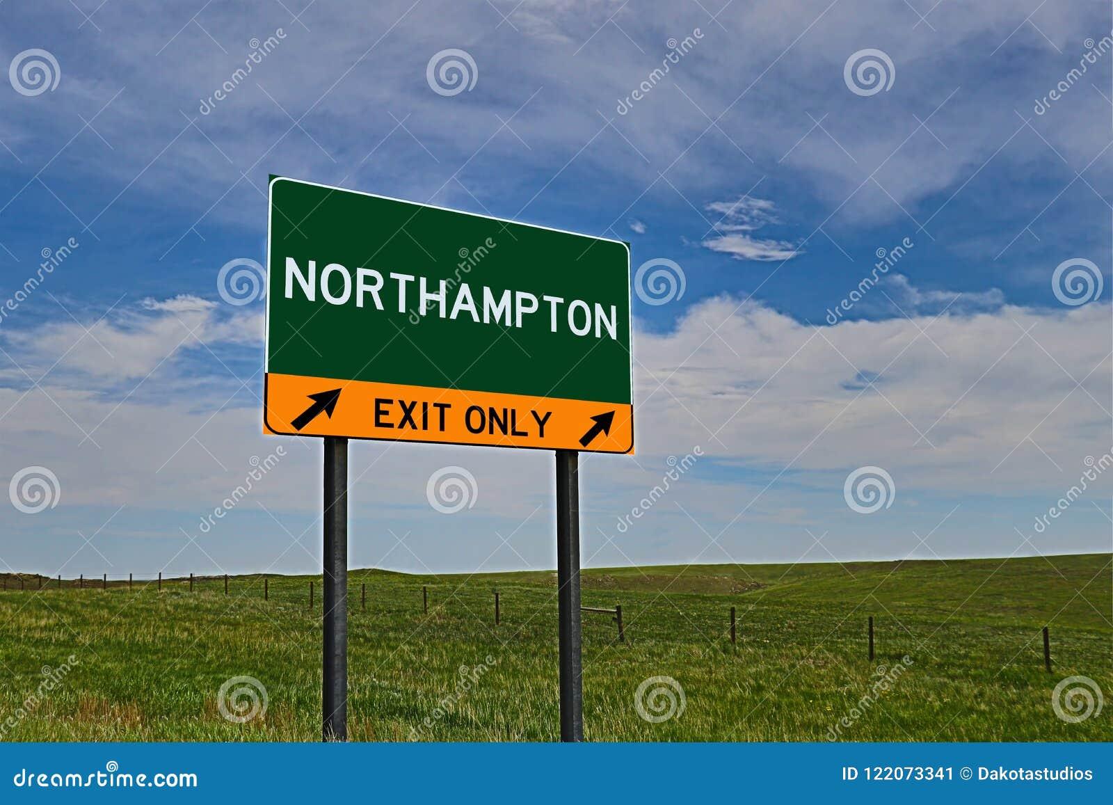 Tecken för USA-huvudvägutgång för Northampton