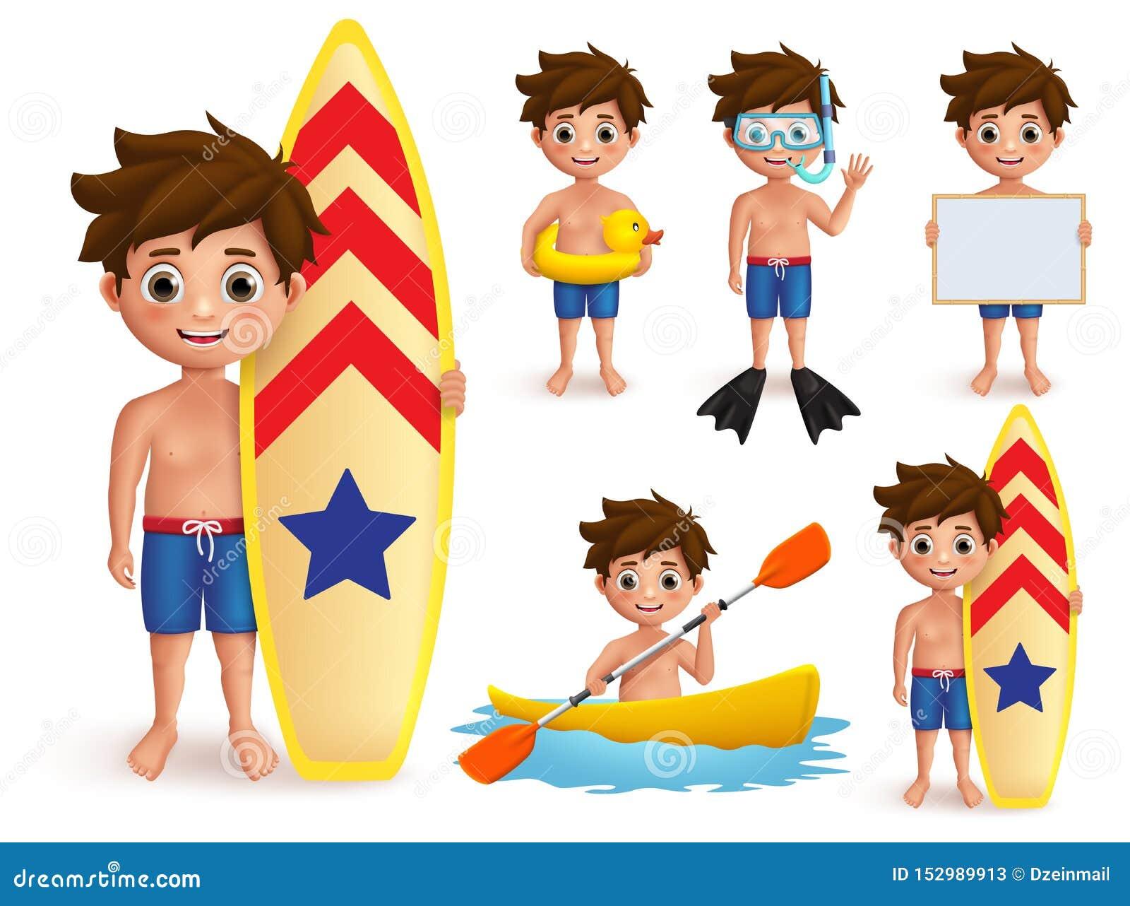 Tecken för vektor för sommarpojkeungar - uppsättning Strandpojke med utomhus- aktiviteter för sommardag som att surfa