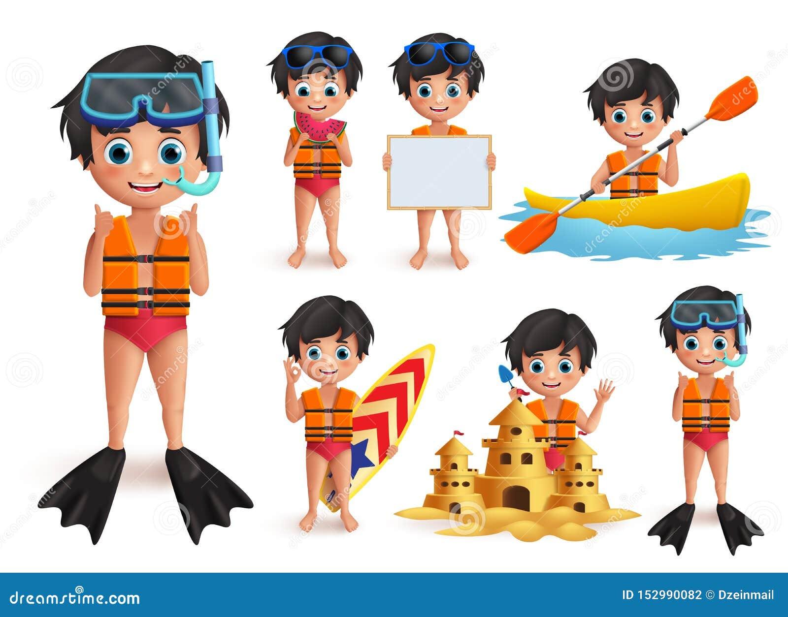 Tecken för vektor för sommarpojkeunge - uppsättning Bärande flytväst för strandpojke och snorkla göra strandaktiviteter