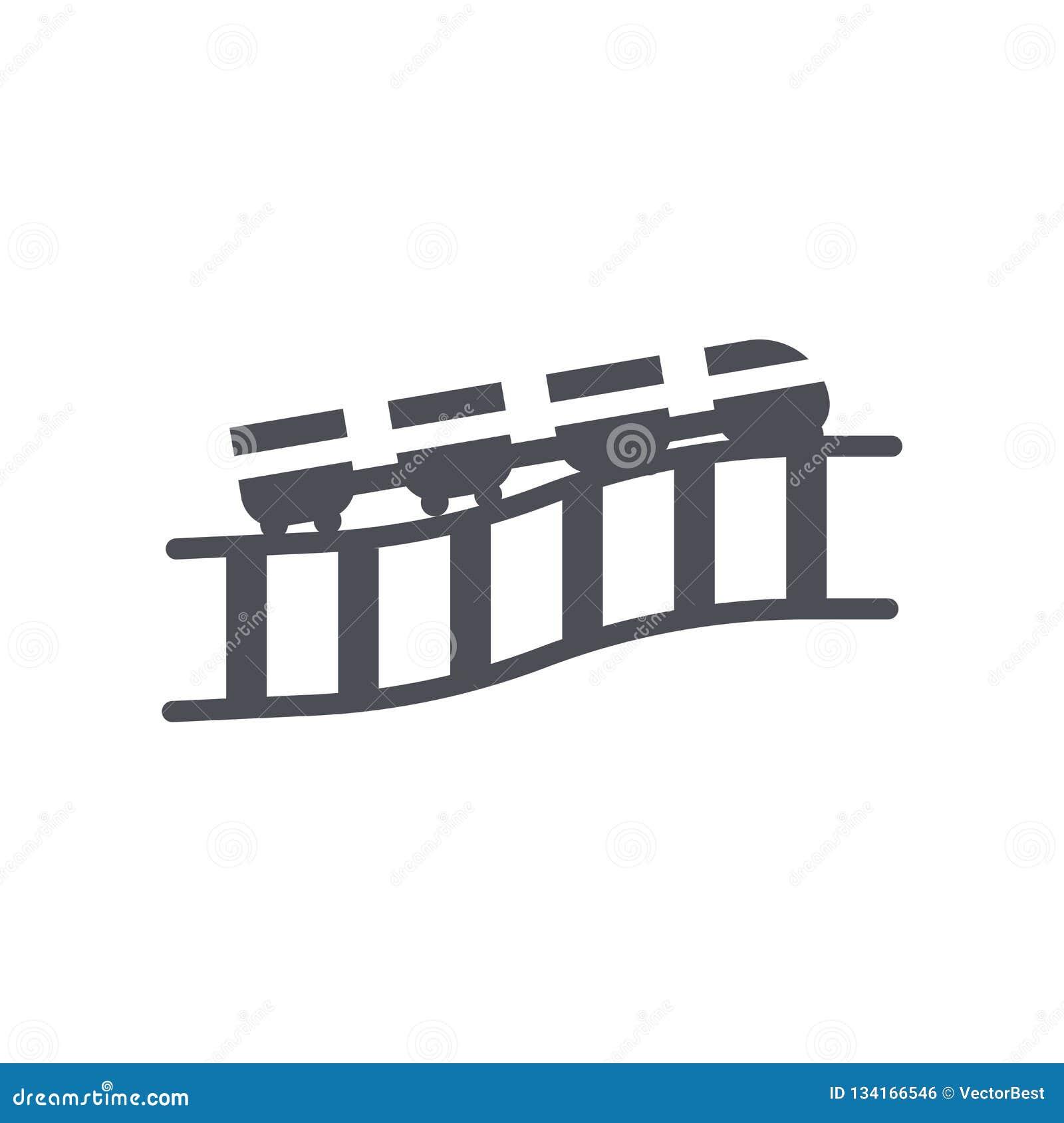 Tecken och symbol för berg-och dalbanasymbolsvektor som isoleras på vit bakgrund, berg-och dalbanalogobegrepp
