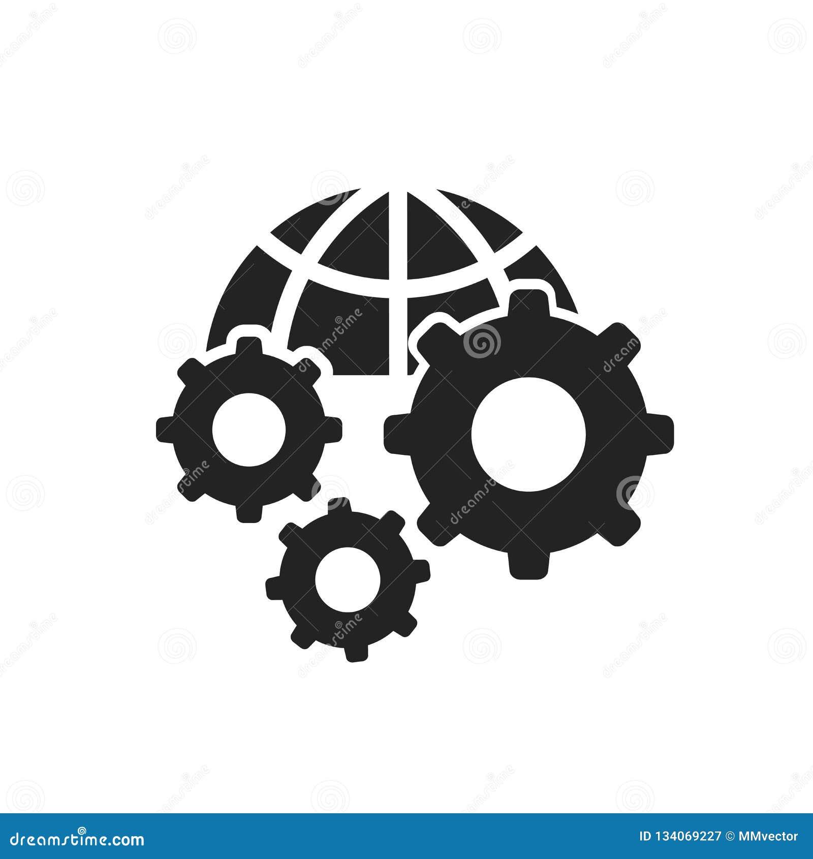 Tecken och symbol för inställningssymbolsvektor som isoleras på vit bakgrund, inställningslogobegrepp