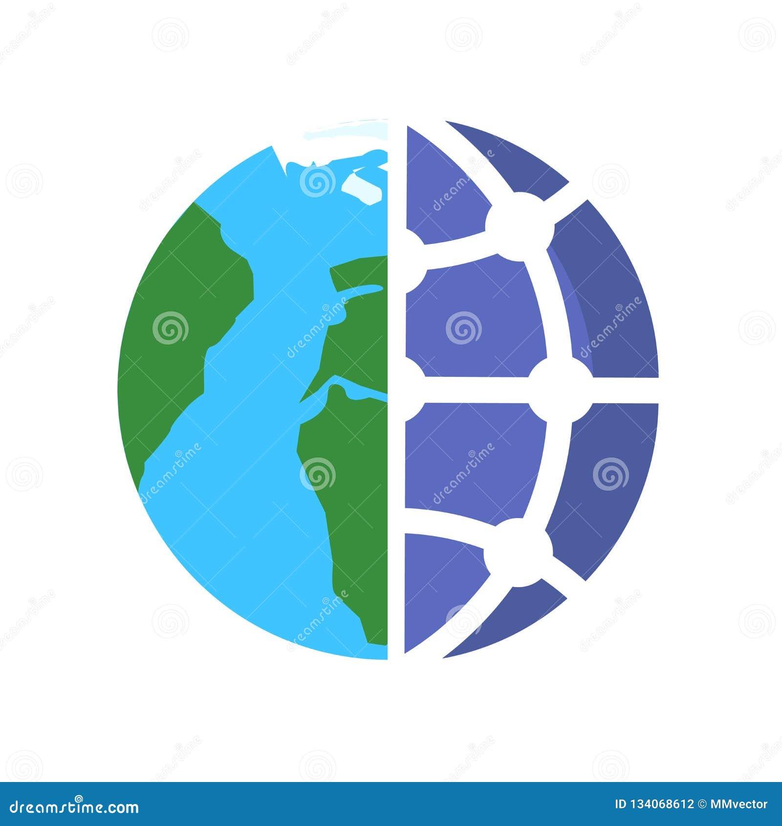 Tecken och symbol för jordklotsymbolsvektor som isoleras på vit bakgrund, jordklotlogobegrepp